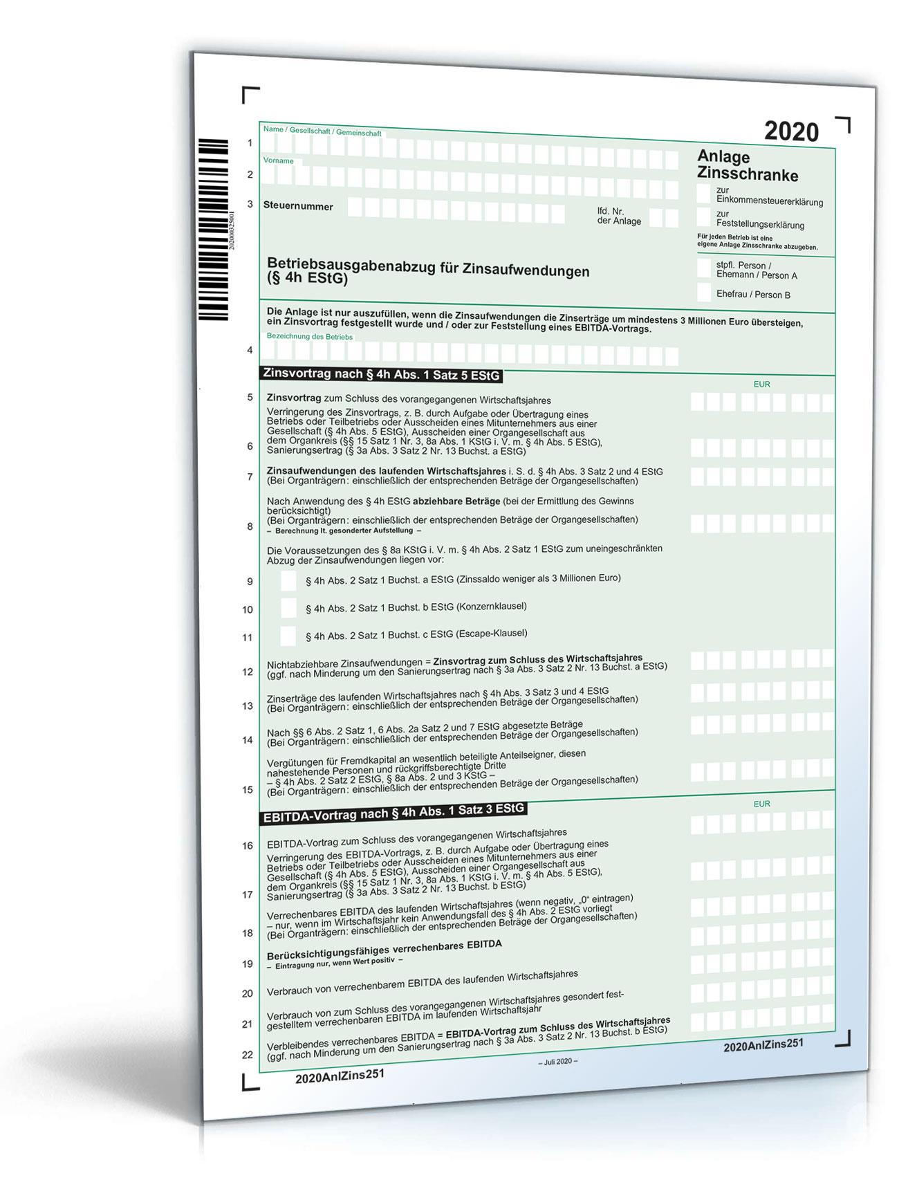 Anlage Zinsschranke 2020 Dokument zum Download