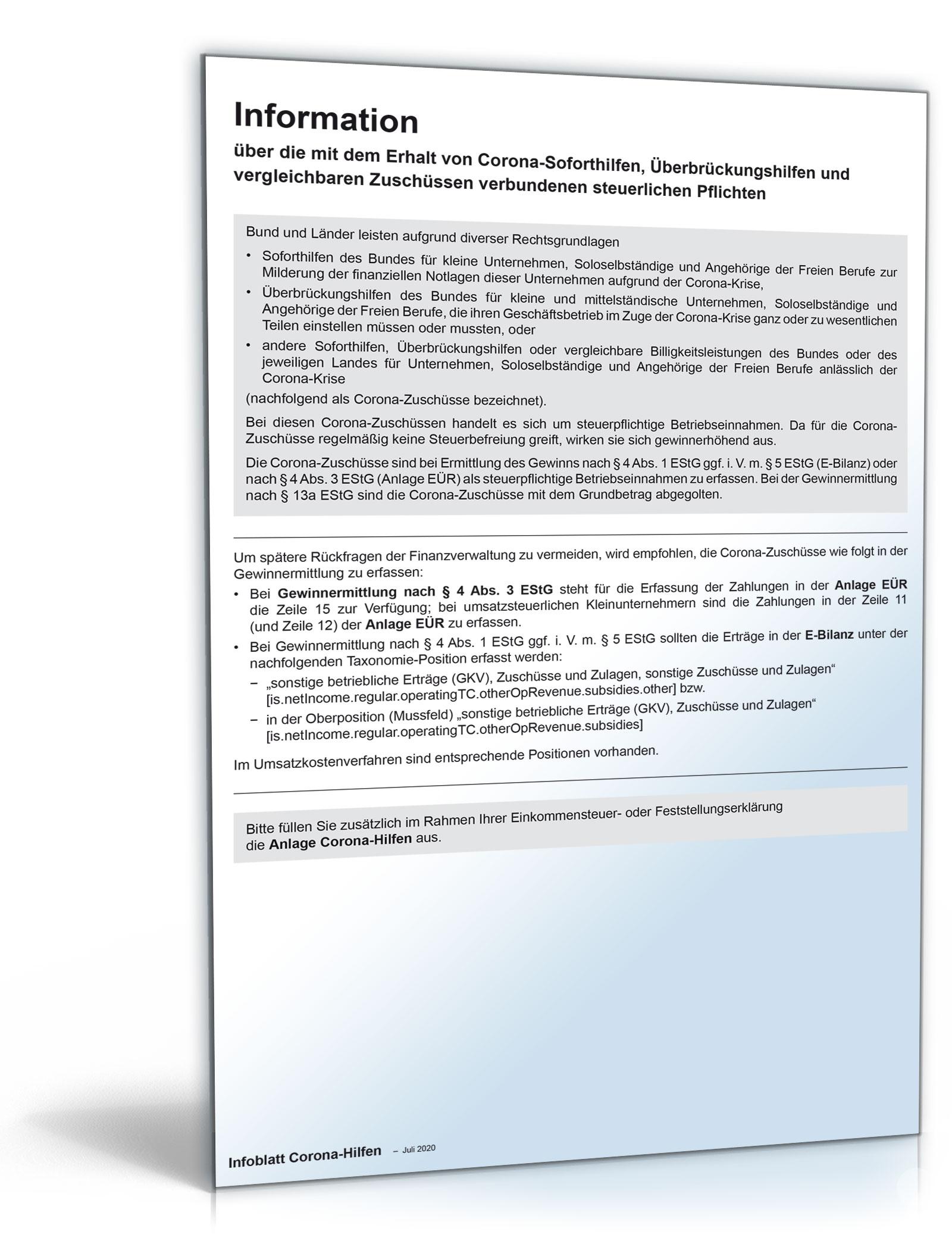 Infoblatt Corona 2020 Dokument zum Download