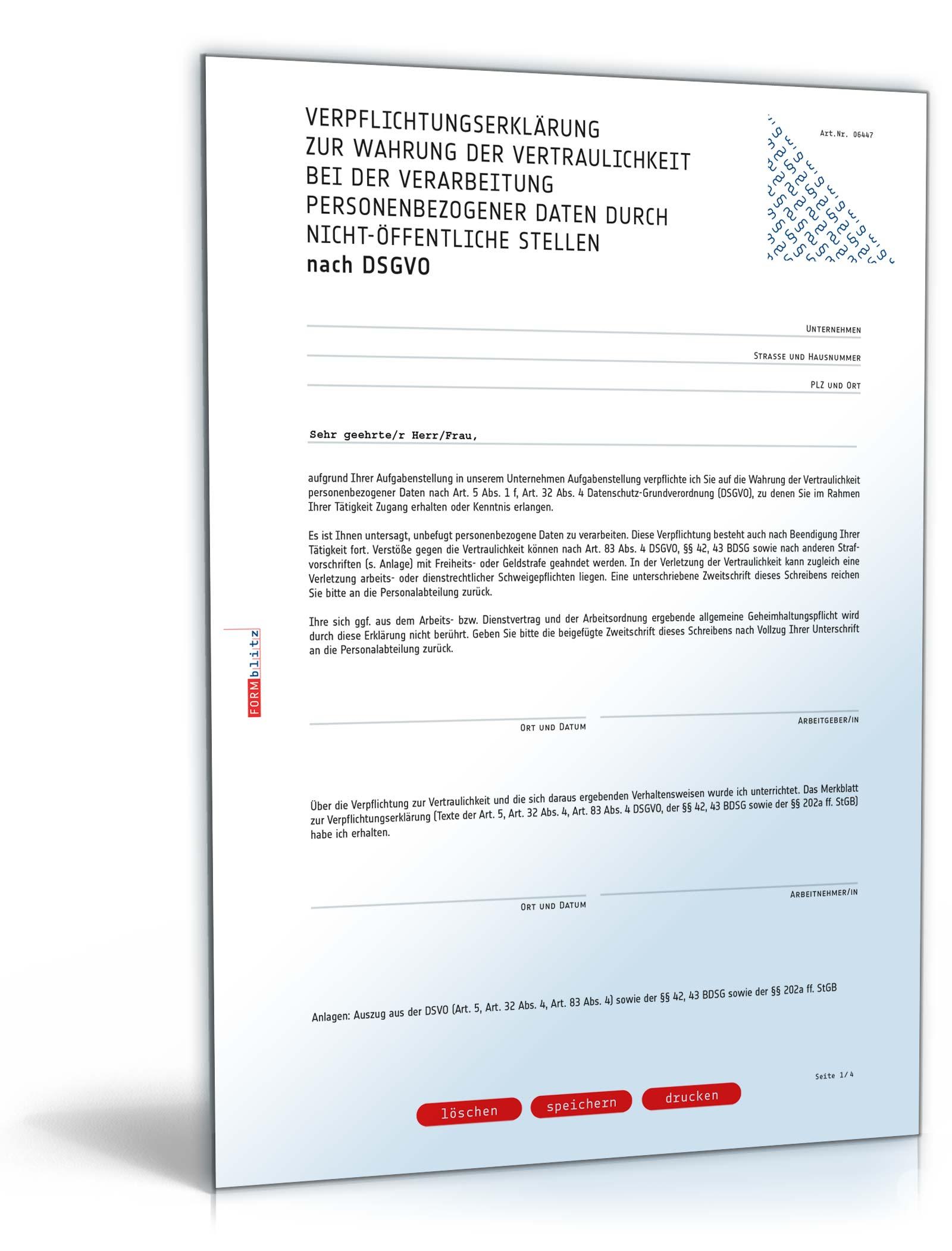 Verpflichtungserklärung Gemäß Dsgvo Muster Zum Download