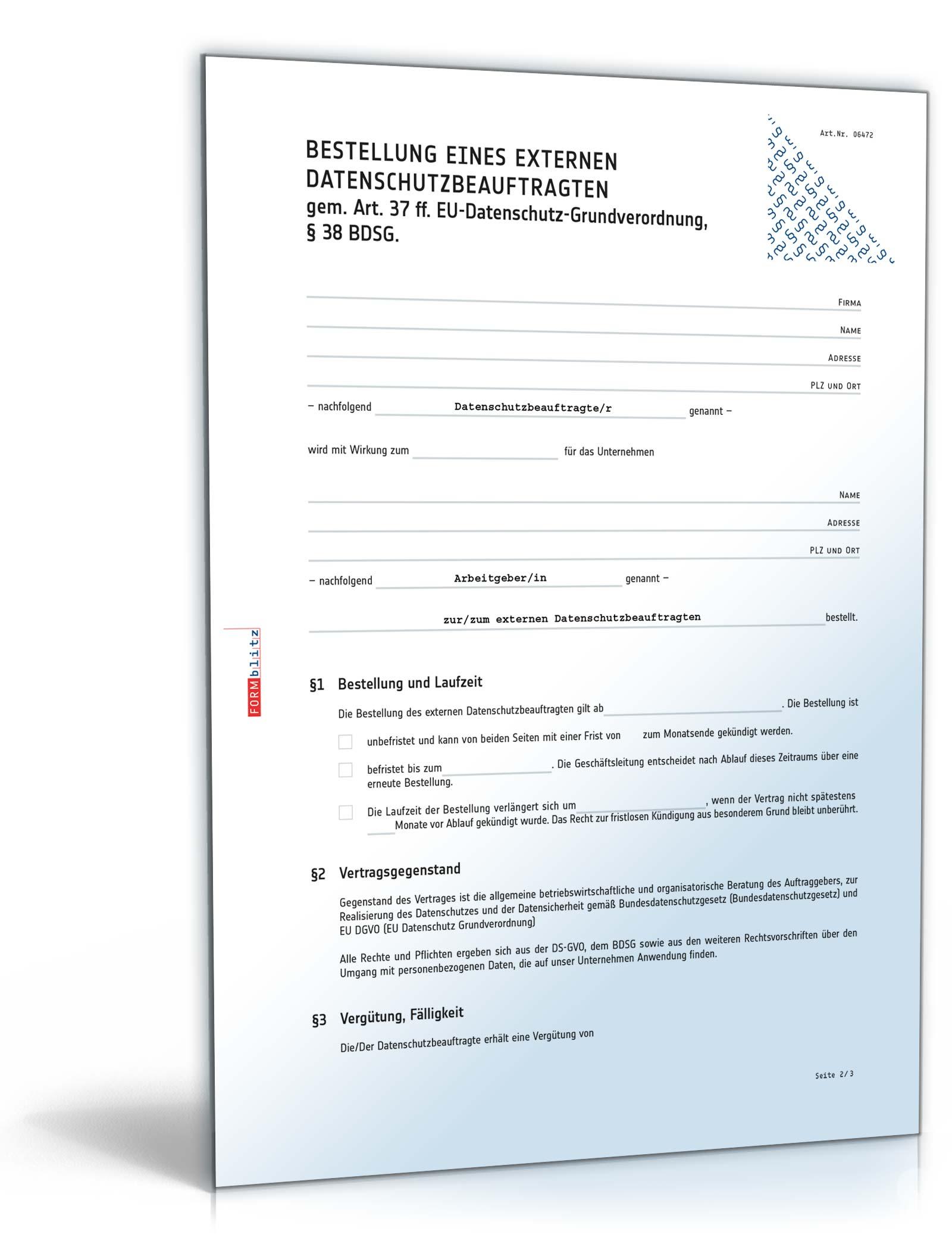 Bestellung Externer Datenschutzbeauftragter Muster Zum Download