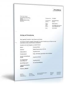 Antrag auf Versetzung Dokument zum Download