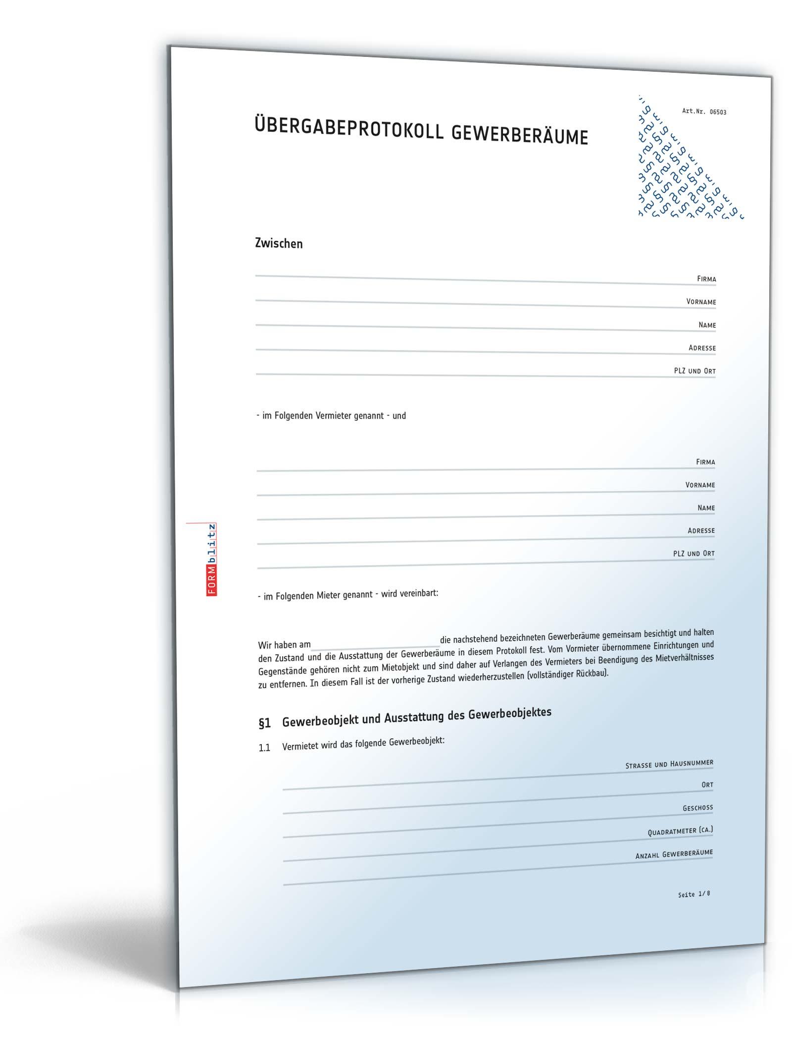 bergabeprotokoll gewerberume muster zum download - Ubergabeprotokoll Mietwohnung Muster