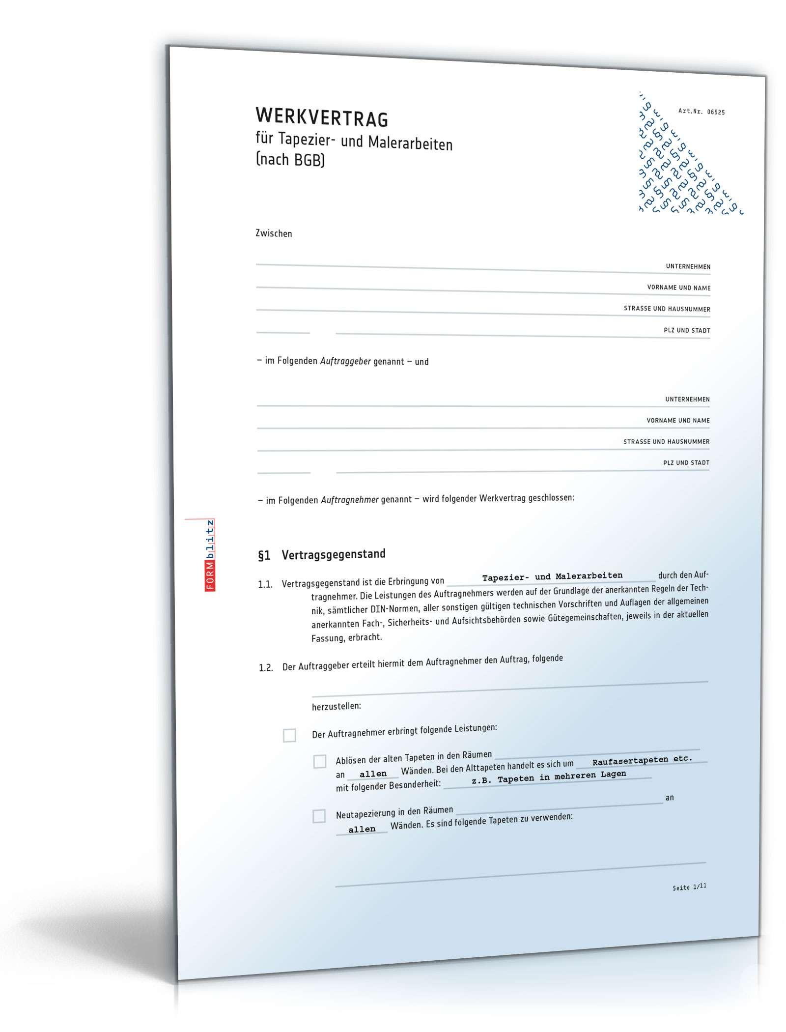 Werkvertrag Tapezier Und Malerarbeiten Muster Zum Download