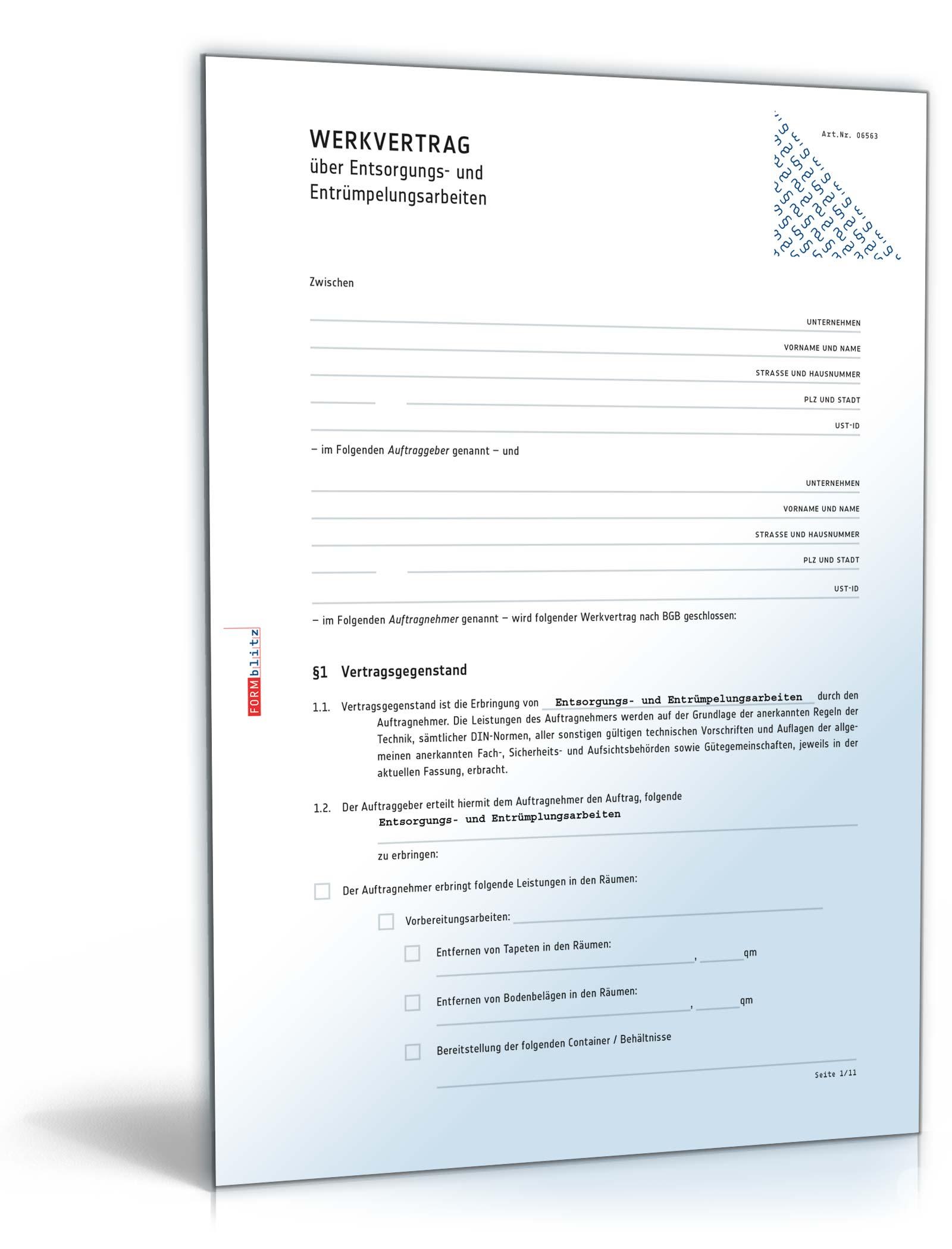 Werkvertrag Entsorgungs Und Entrümpelungsarbeiten Muster Zum Download