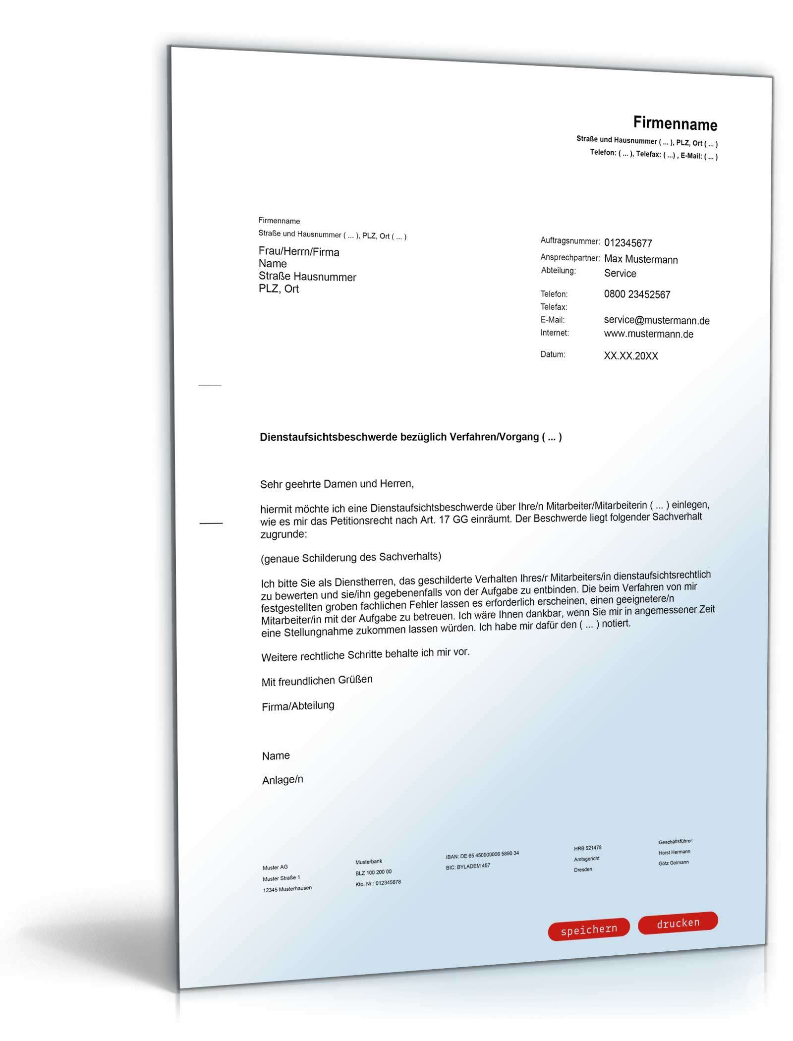 Dienstaufsichtsbeschwerde Rechtssicheres Muster Zum Download