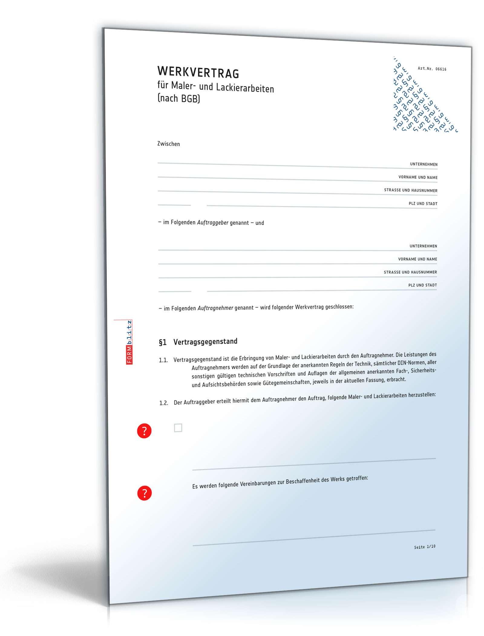 Werkvertrag Maler Und Lackierarbeiten Muster Zum Download