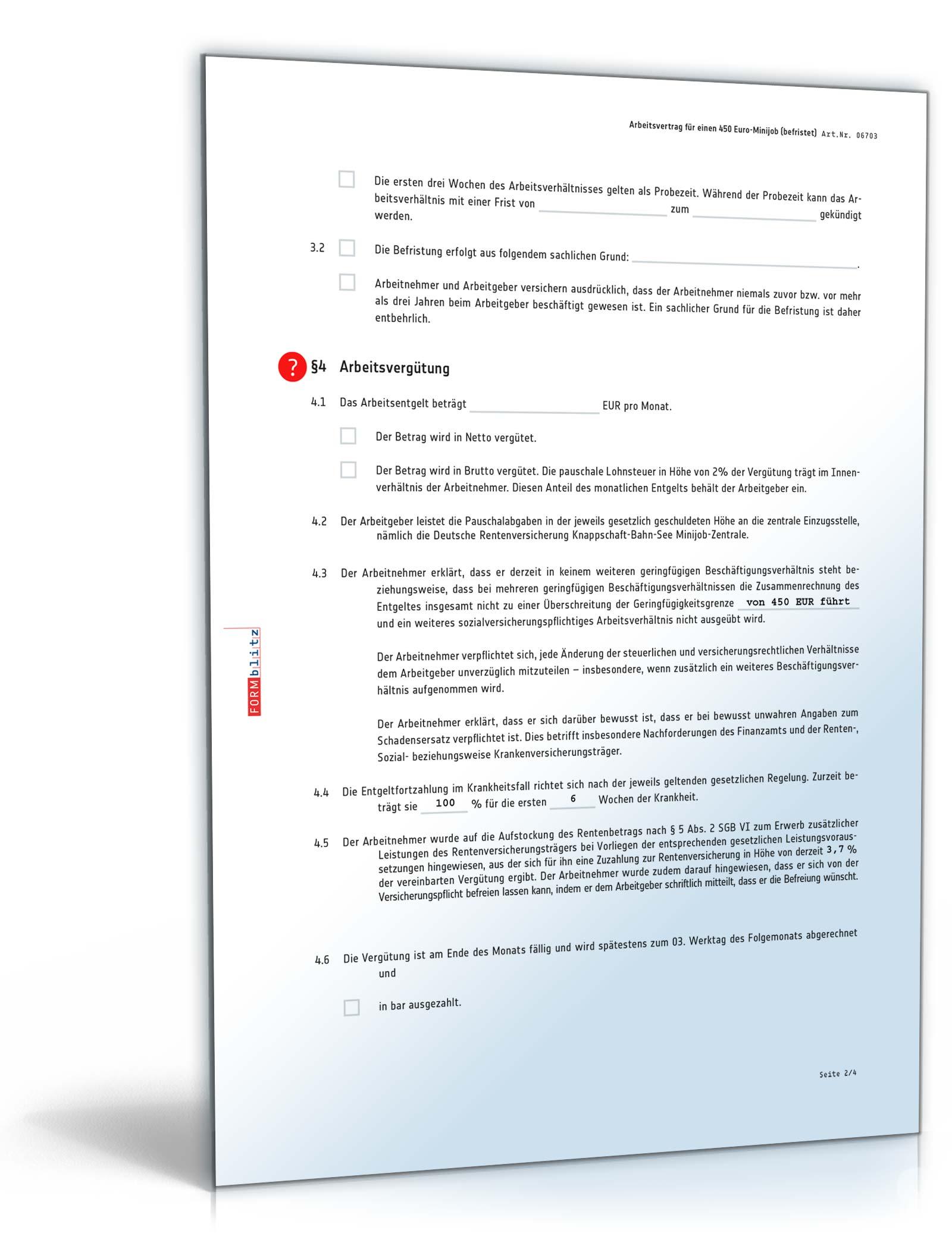 Befristeter Arbeitsvertrag Minijob Muster Zum Download
