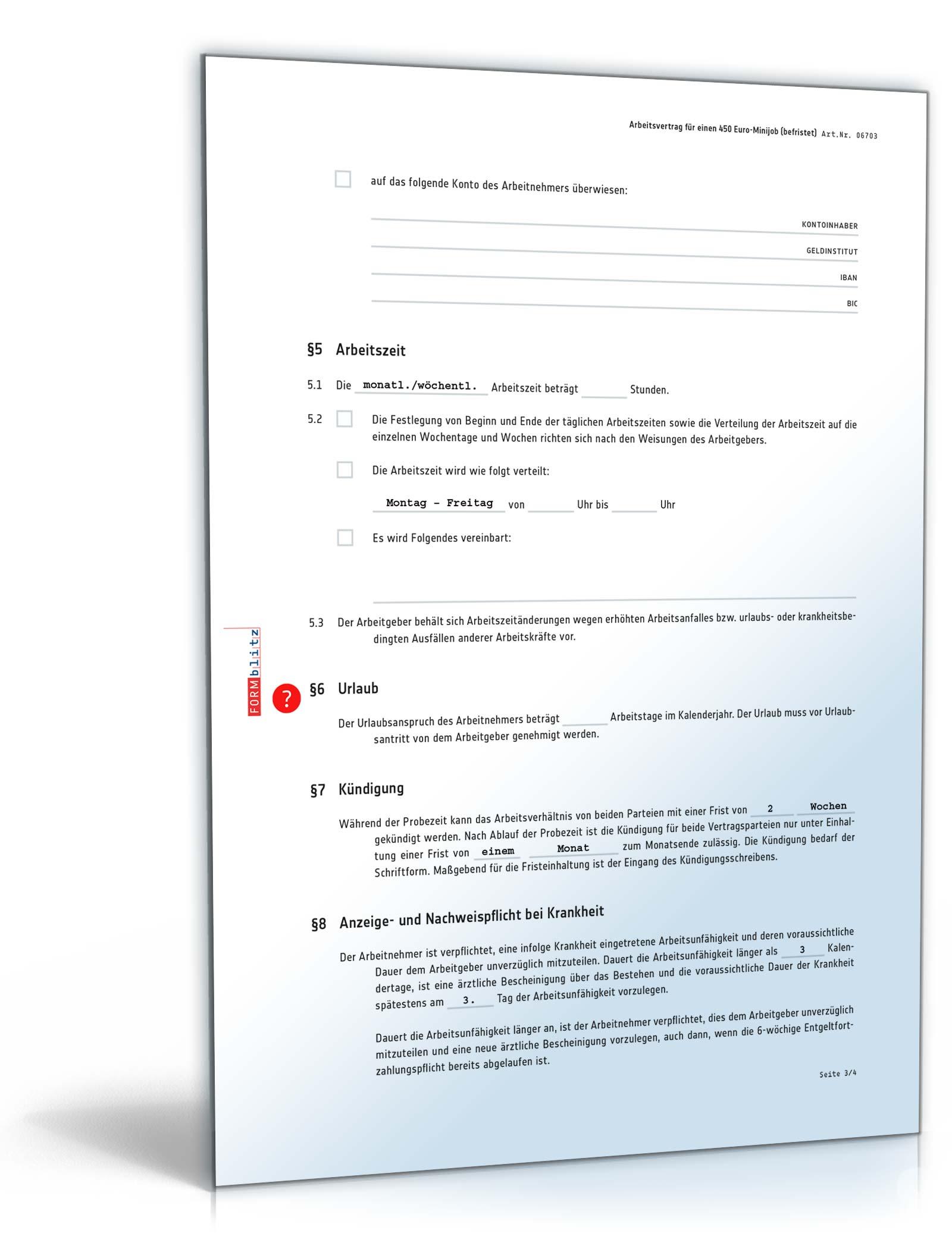 befristeter arbeitsvertrag minijob vorlage - Arbeitsvertrag Muster Minijob