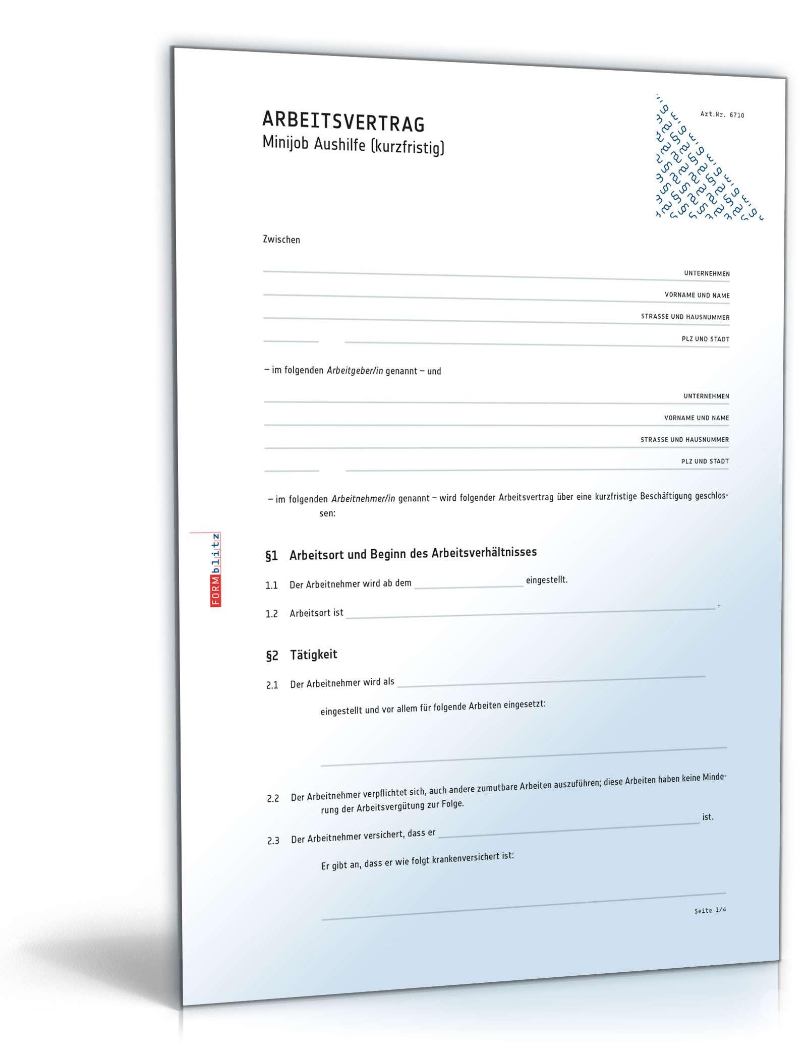 Arbeitsvertrag Aushilfskraft Muster Zum Download