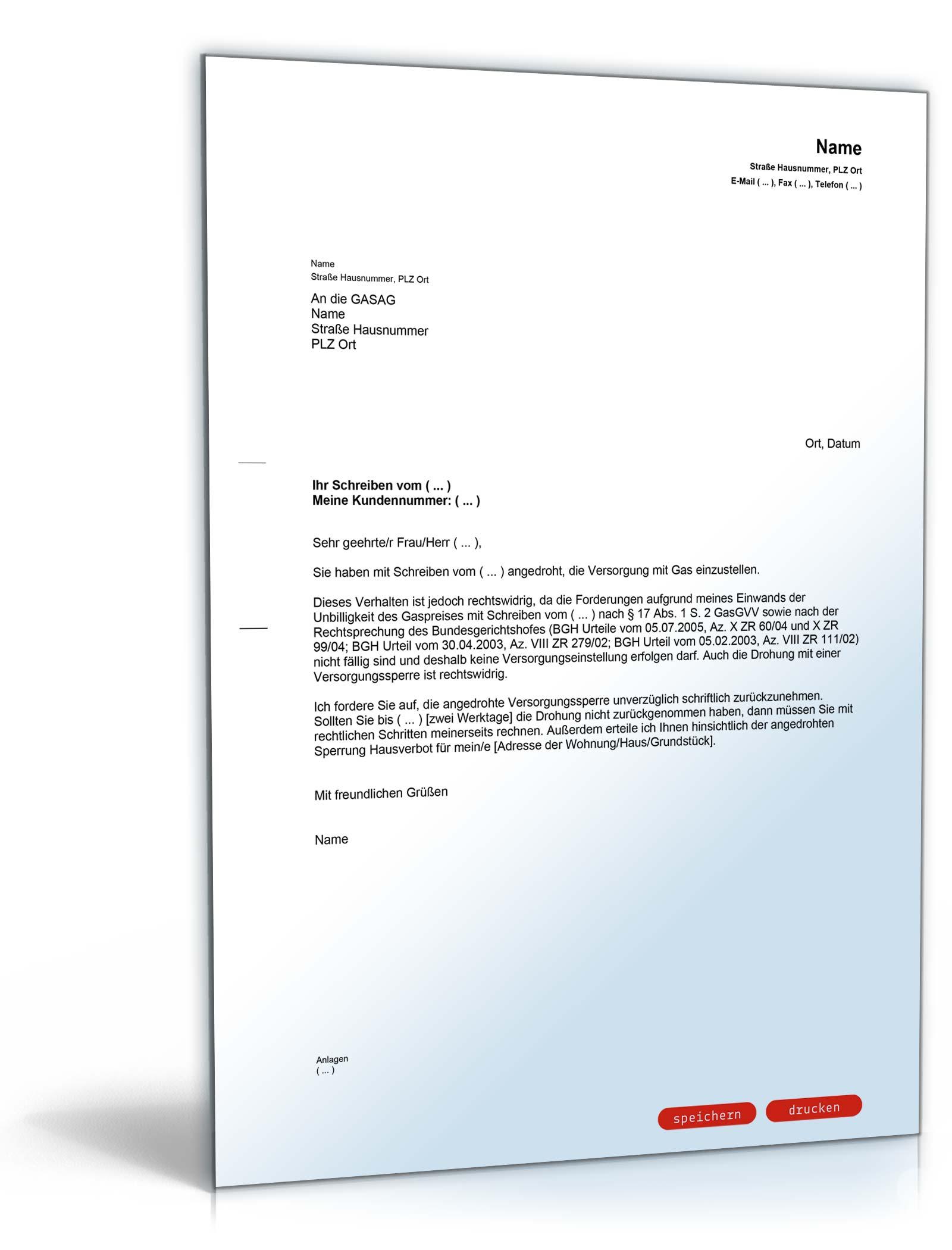 Antwort Androhung Gassperre Vorlage Zum Download