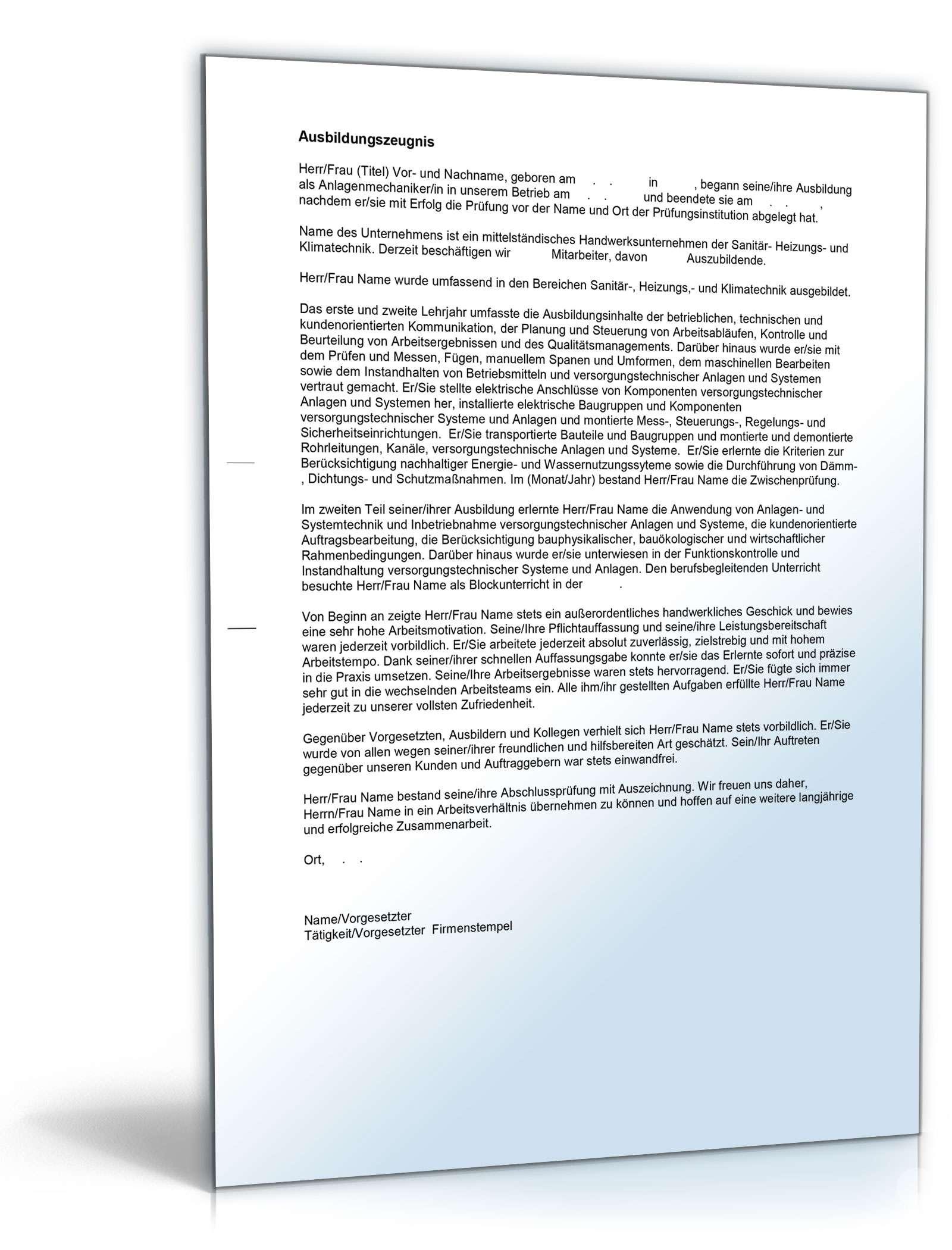Ausbildungszeugnis Anlagenmechaniker Muster Zum Download