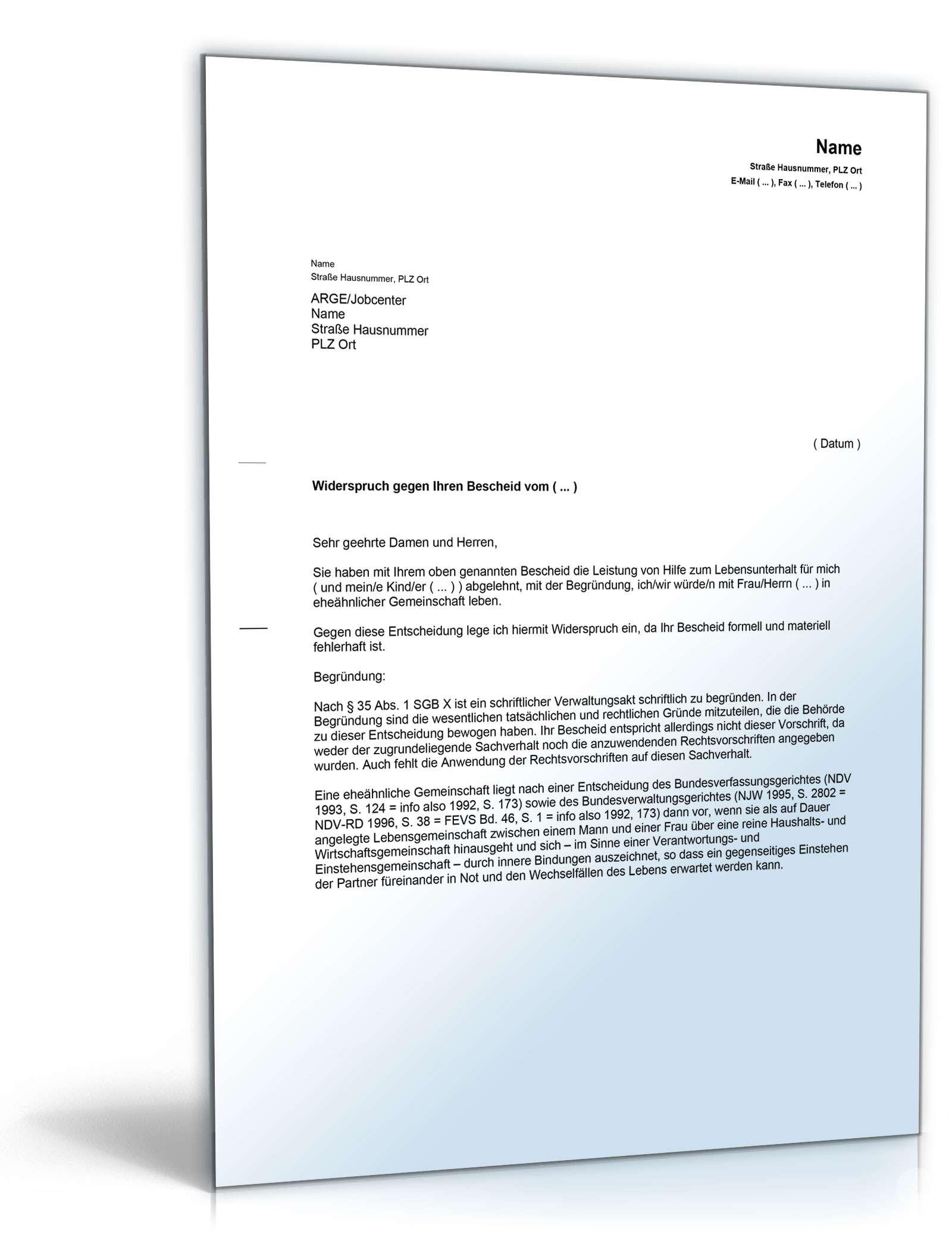 Widerspruch eheähnliche Bedarfsgemeinschaft | Vorlage zum Download