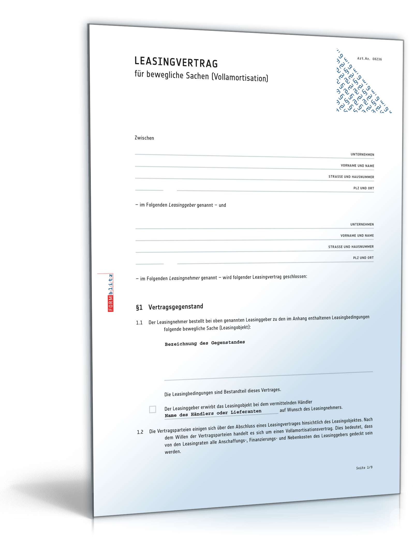 Leasingvertrag | Rechtssichere Vorlage zum Download