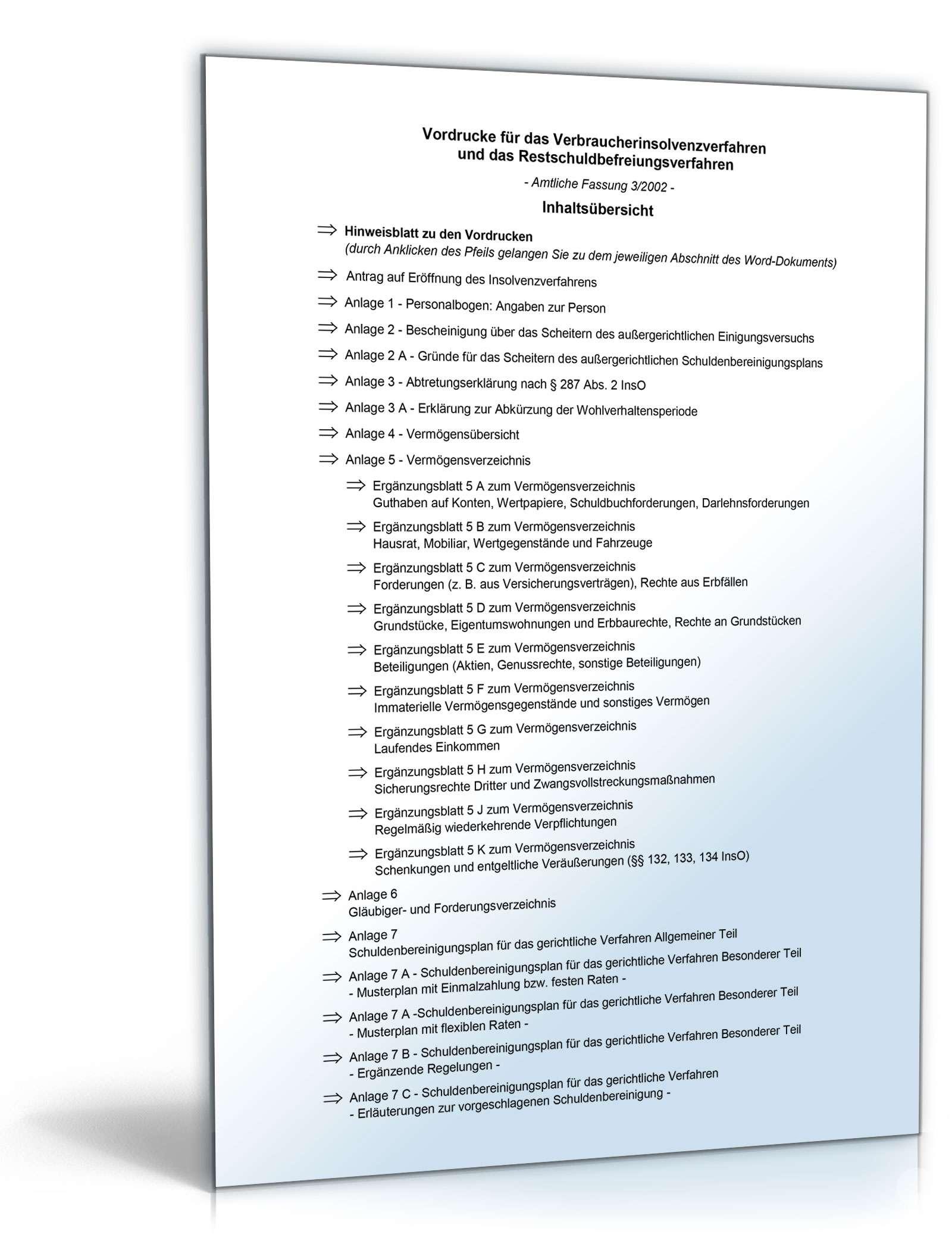 Verbraucherinsolvenz Formulare Und Vordrucke Zum Download