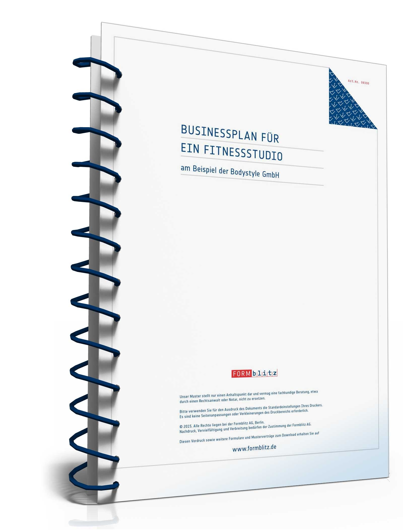 Businessplan Fitnessstudio, Deckblatt