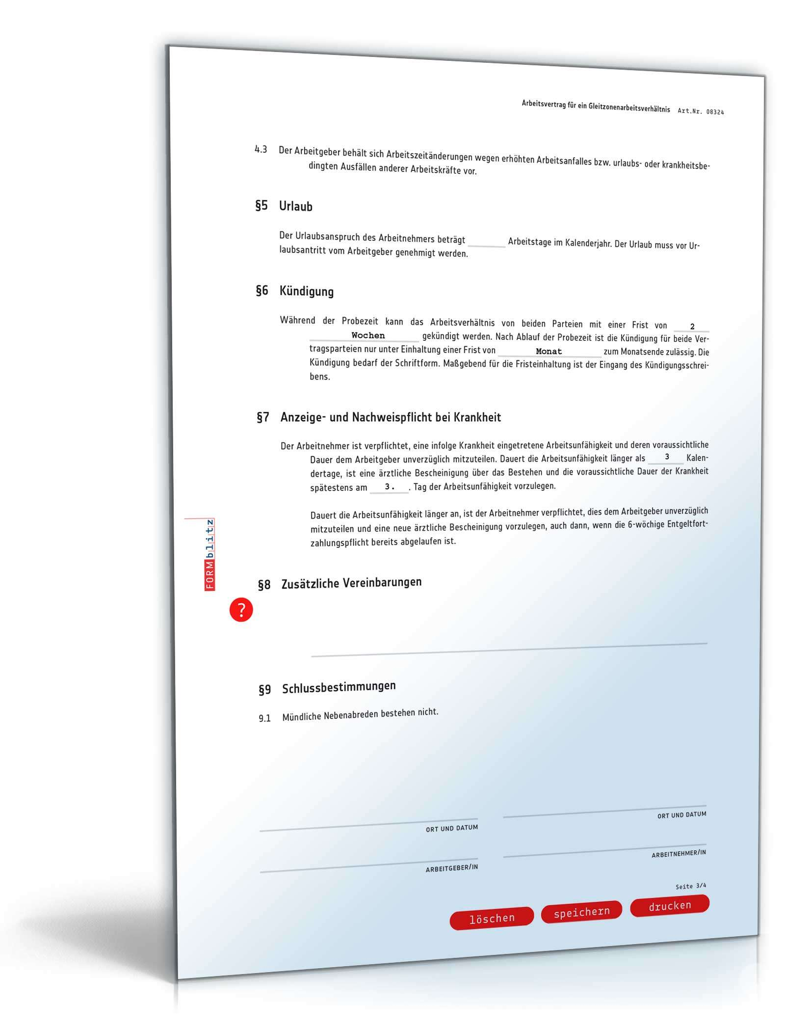 Arbeitsvertrag Gleitzone Rechtssicheres Muster Zum Download