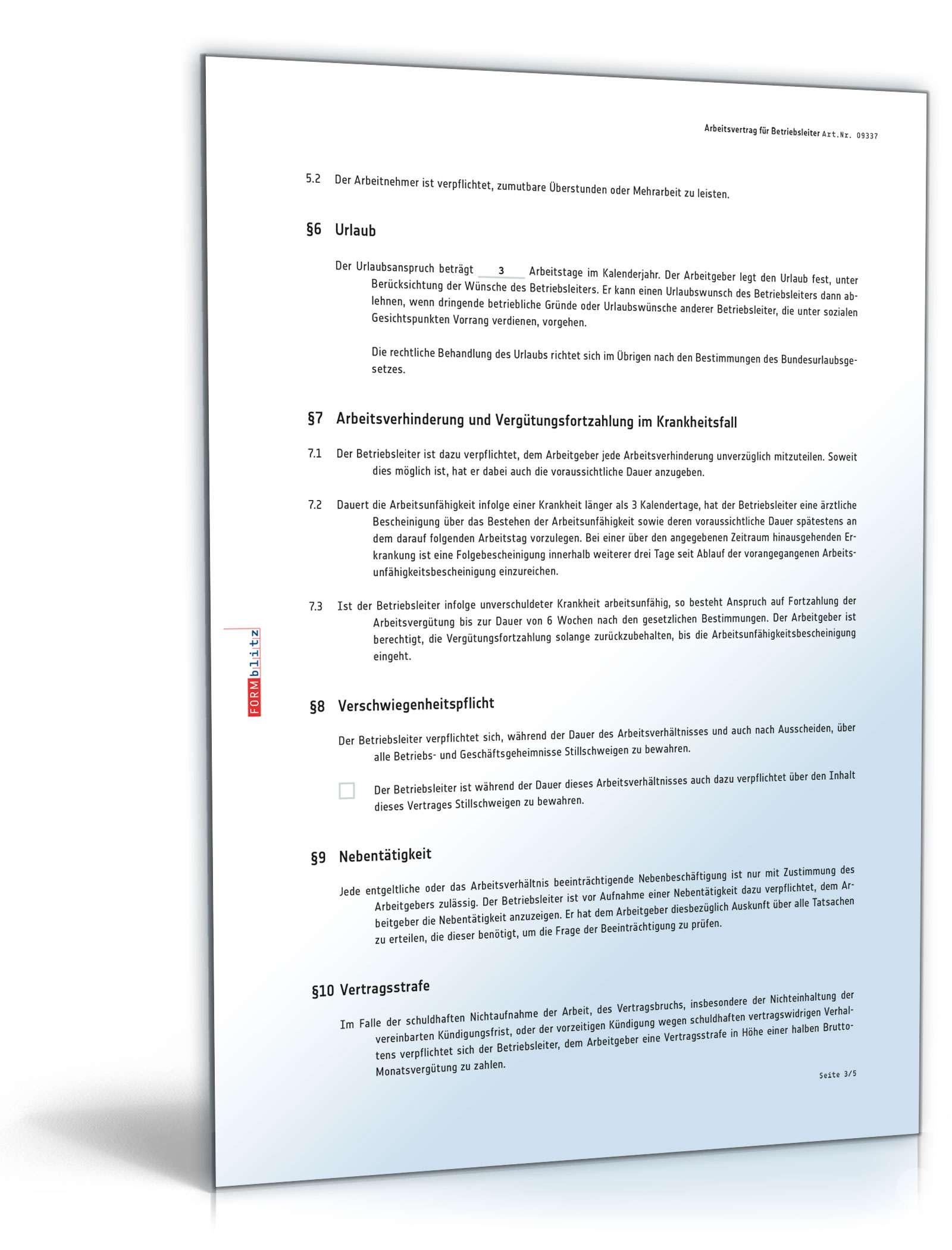 Arbeitsvertrag Betriebsleiter Muster Zum Download