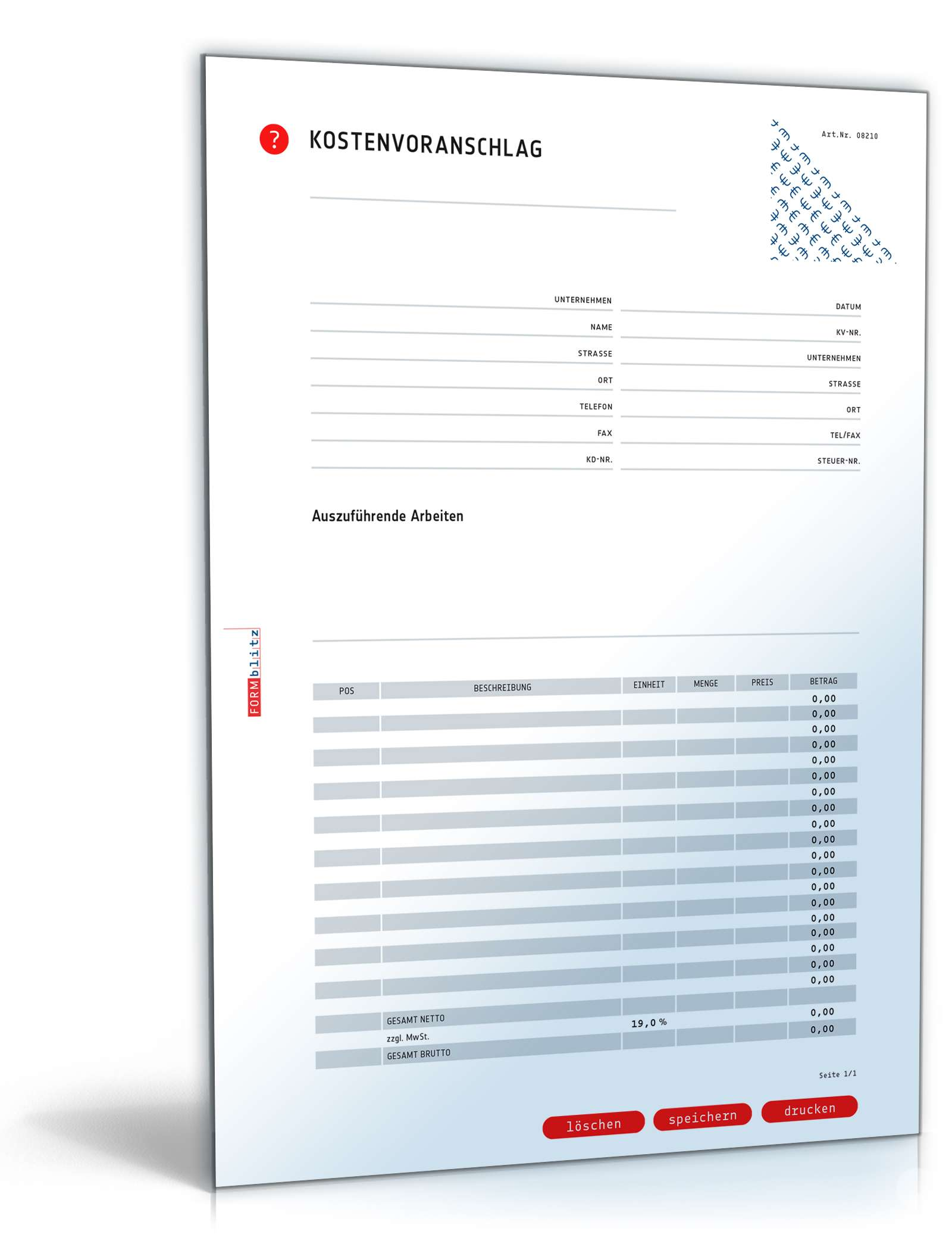 Kostenvoranschlag Inkl Angebot Muster Zum Download