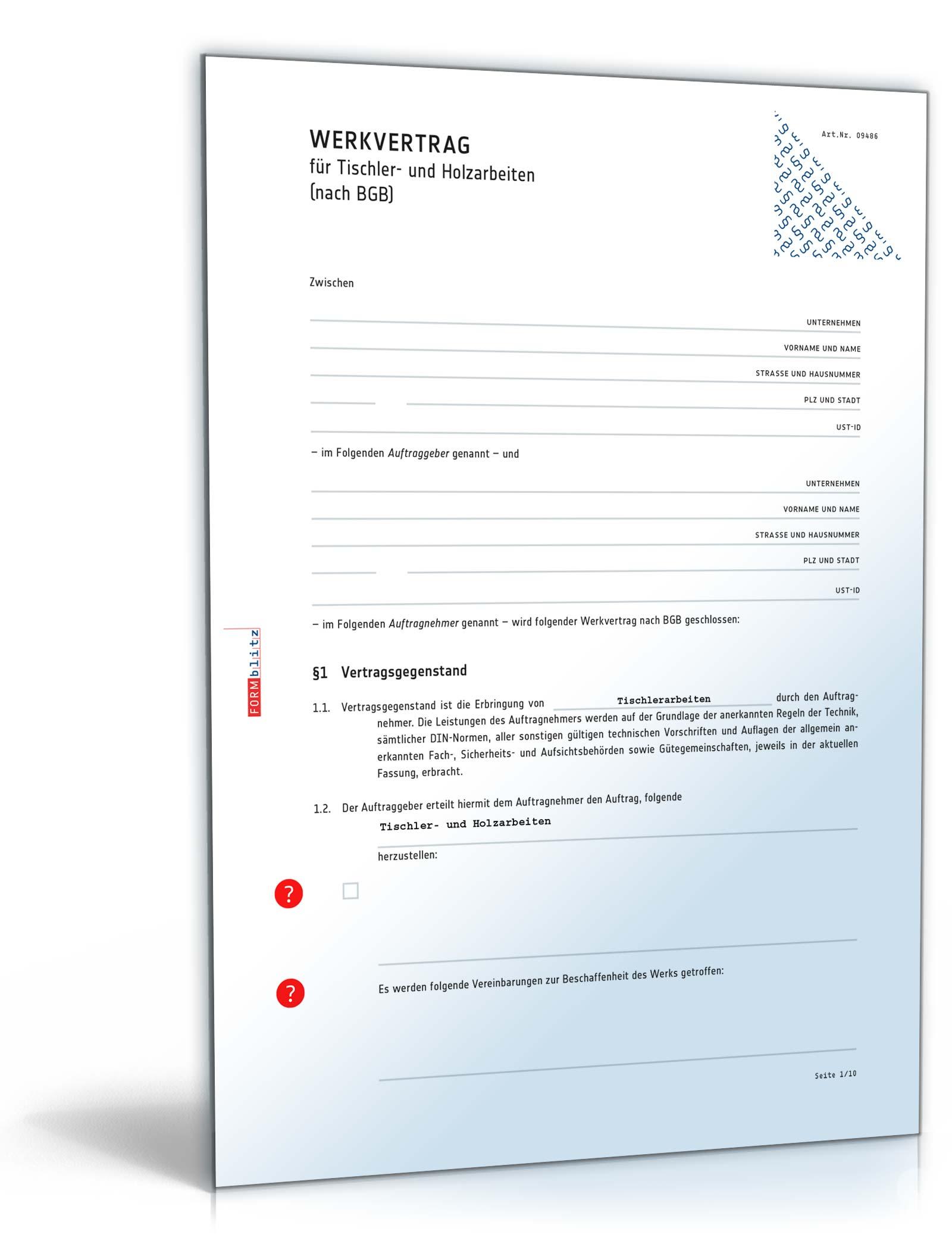Werkvertrag Tischler Vorlage Zum Download