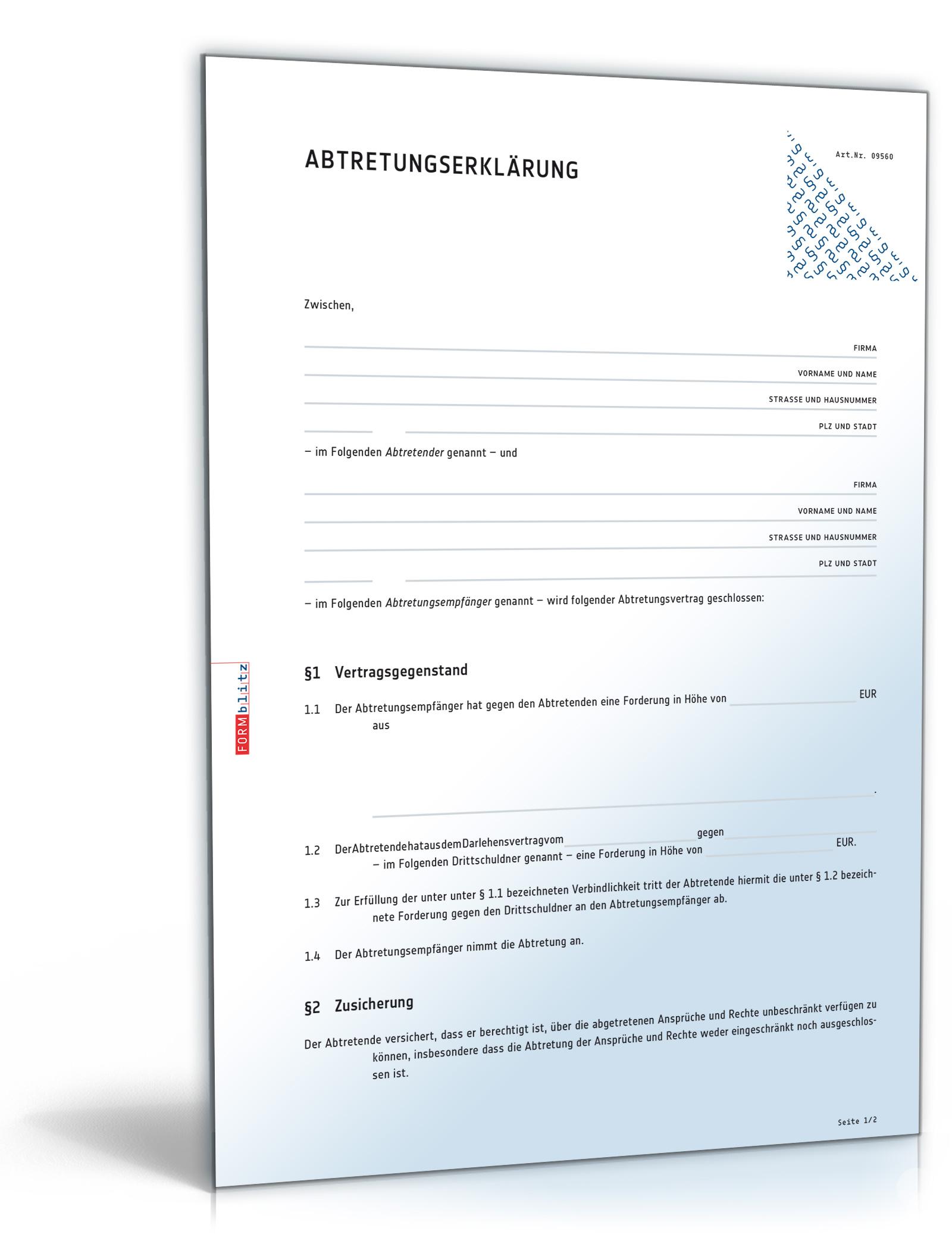 Abtretungserklarung Rechtssicheres Muster Zum Download