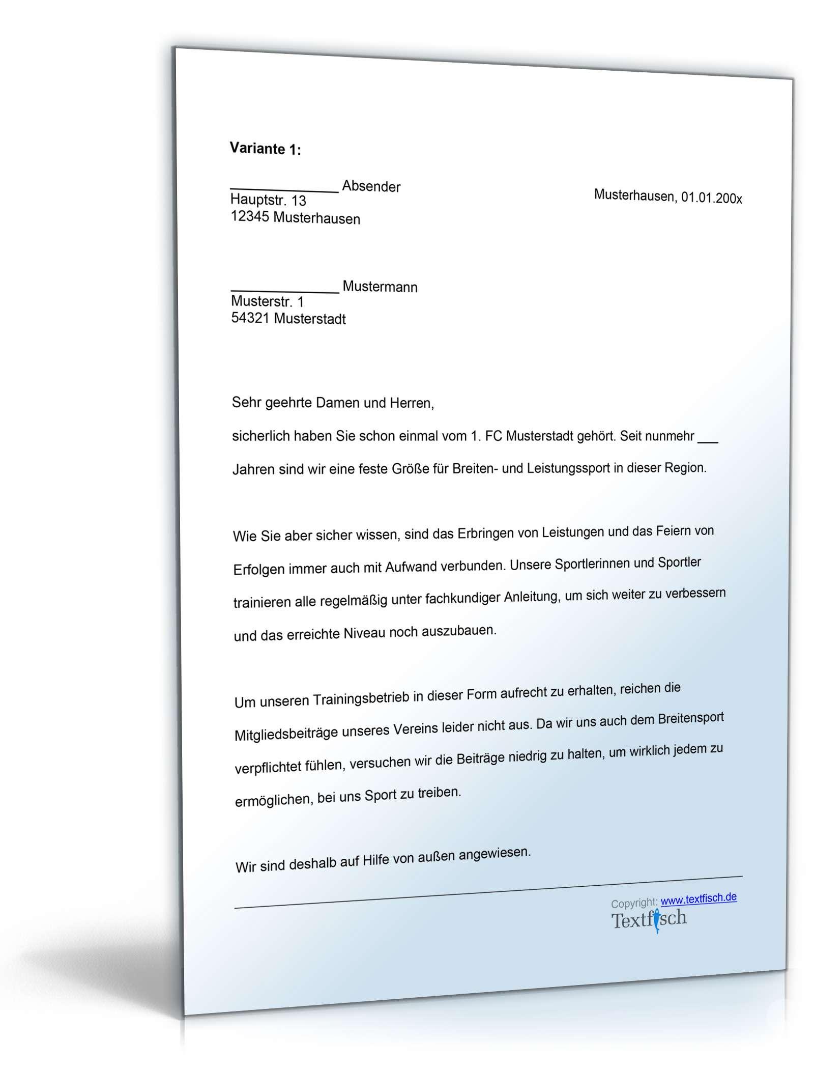 Sponsoringschreiben Sportverein Muster Zum Download