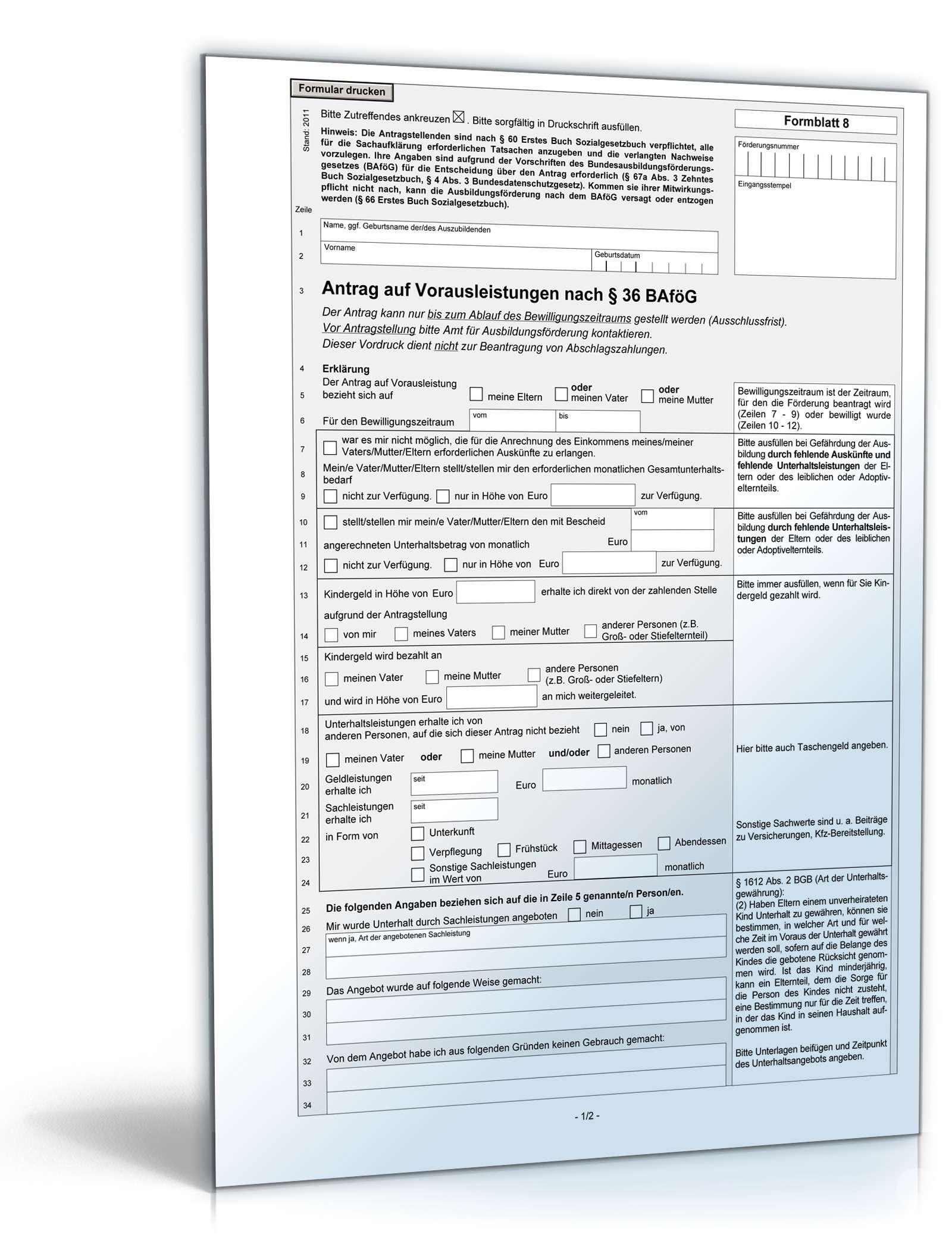 Antrag auf Vorausleistungen nach § 36 BAföG | Formular zum Download