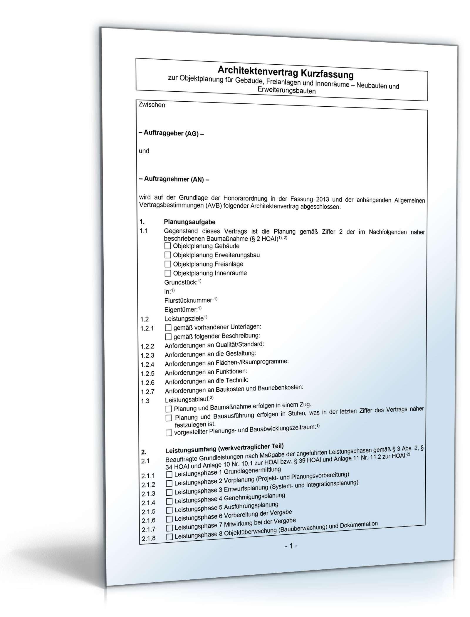 Architektenvertrag zur Objektplanung | Muster zum Download