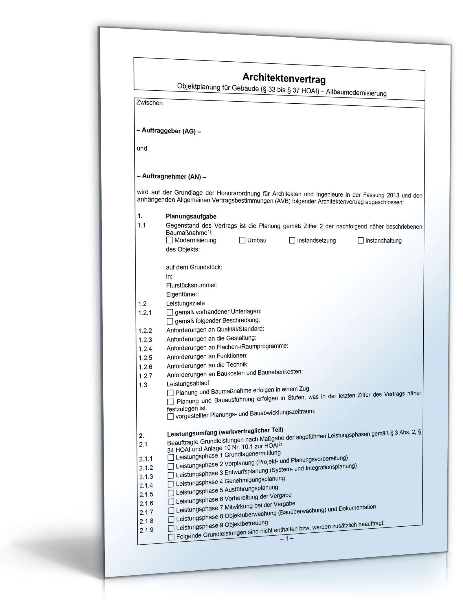 architektenvertrag objektplanung altbaumodernisierung - Architektenvertrag Muster Kostenlos