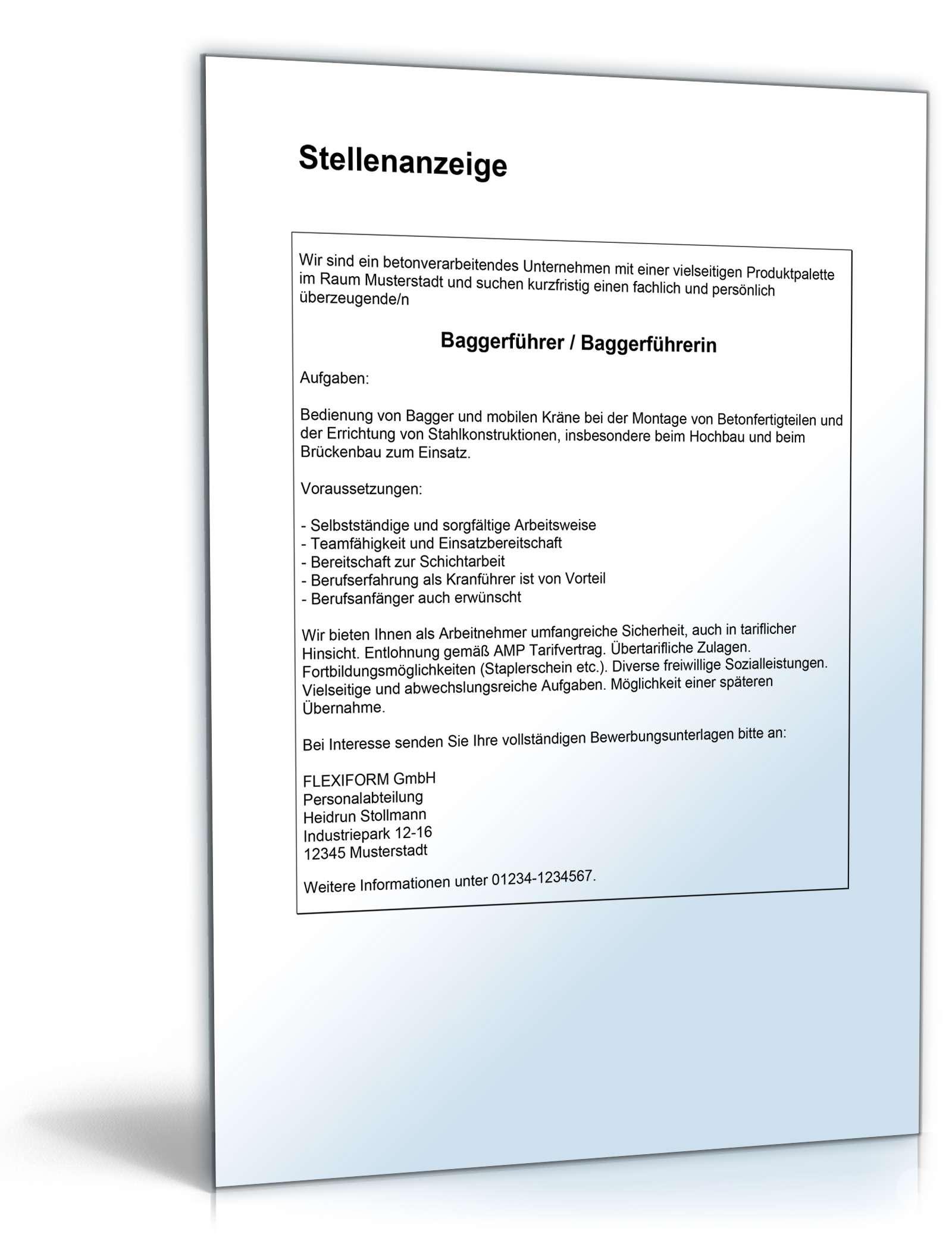 Bewerbungs-Paket Baggerführer   Muster zum Download