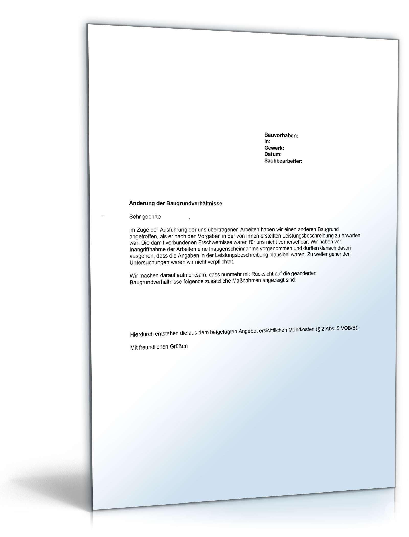 Musterbrief Bedenkenanmeldung Gegen Die Baugrundverhaltnisse