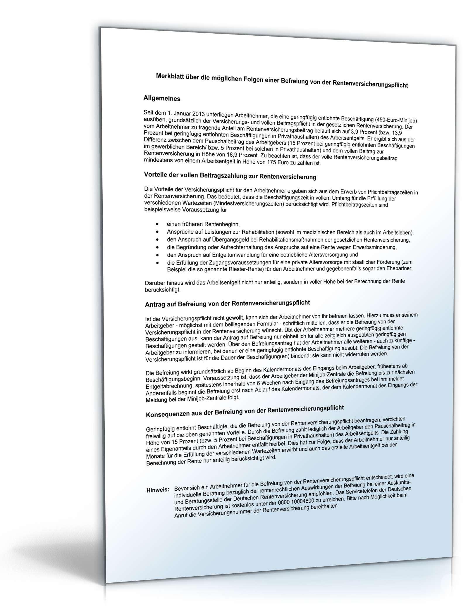 Antrag Befreiung Rentenversicherungspflicht Formular Zum Download