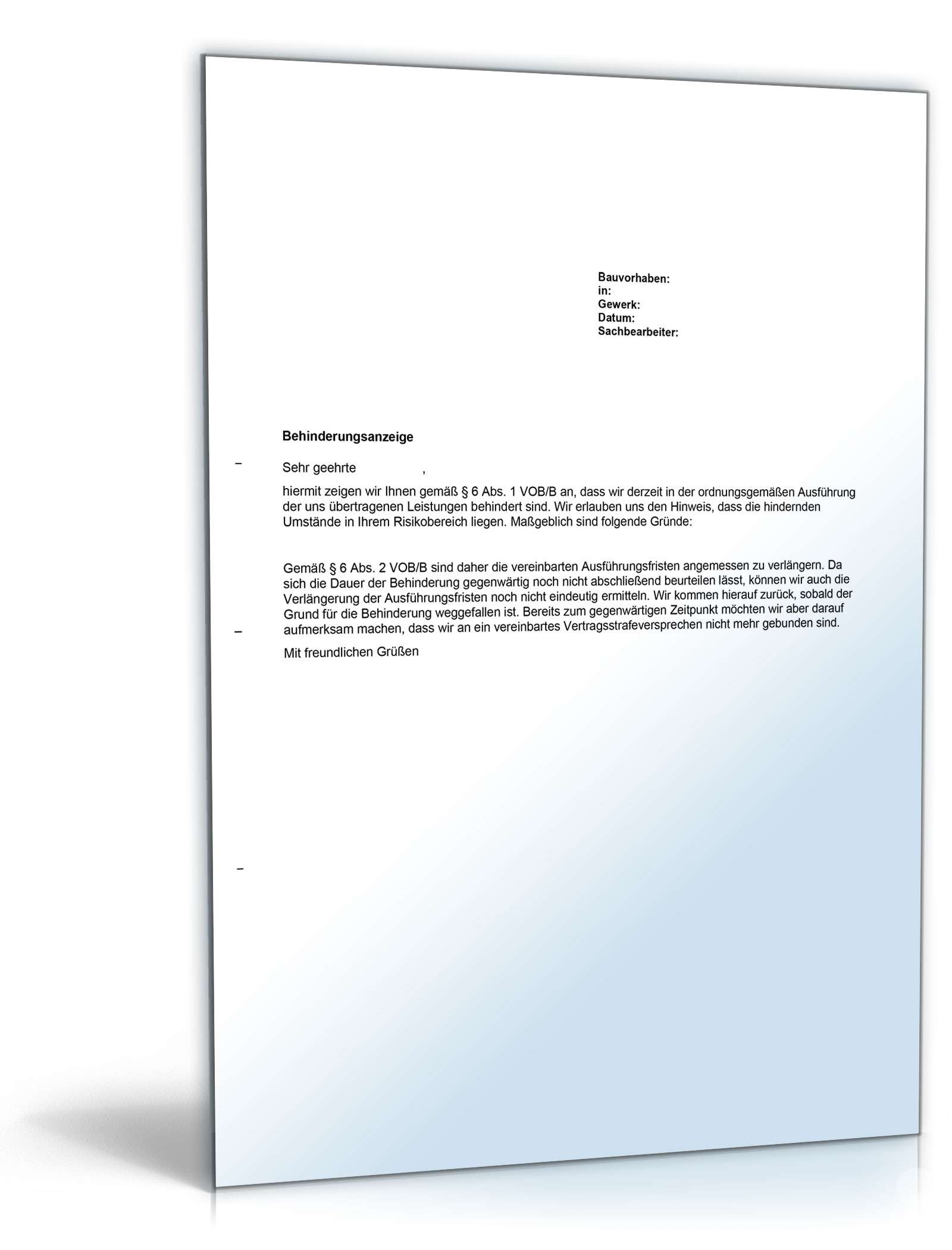 Behinderungsanzeige Bau Anwaltsgepruftes Muster Downloaden