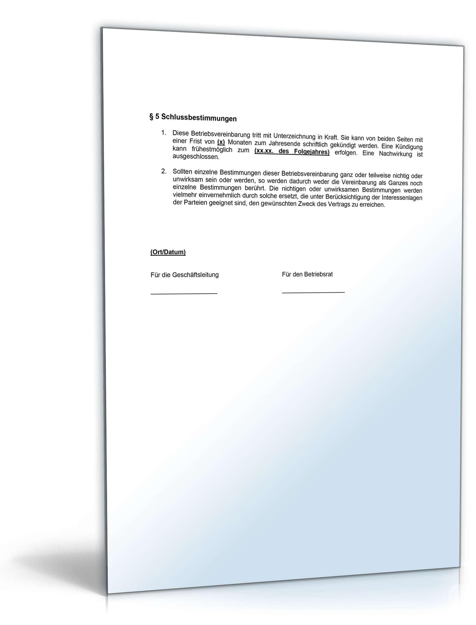 Betriebsvereinbarung Bonussystem Muster Vorlage Zum Download
