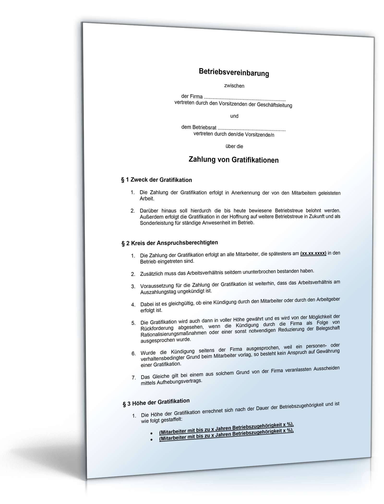 Musterbriefe Arbeitgeber : Betriebsvereinbarung gratifikation muster vorlage zum