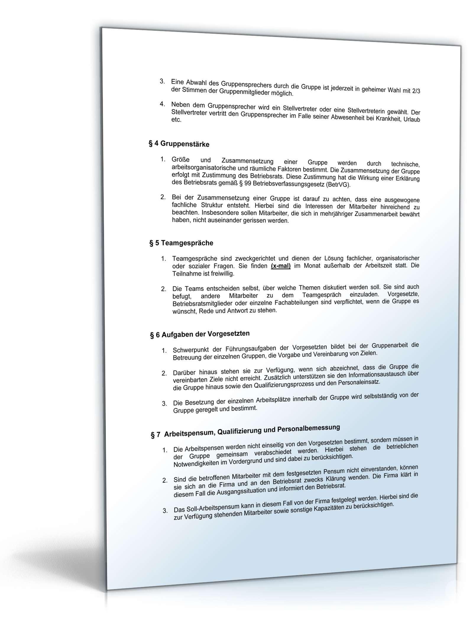 betriebsvereinbarung einrichtung von gruppenarbeit - Muster Betriebsvereinbarung