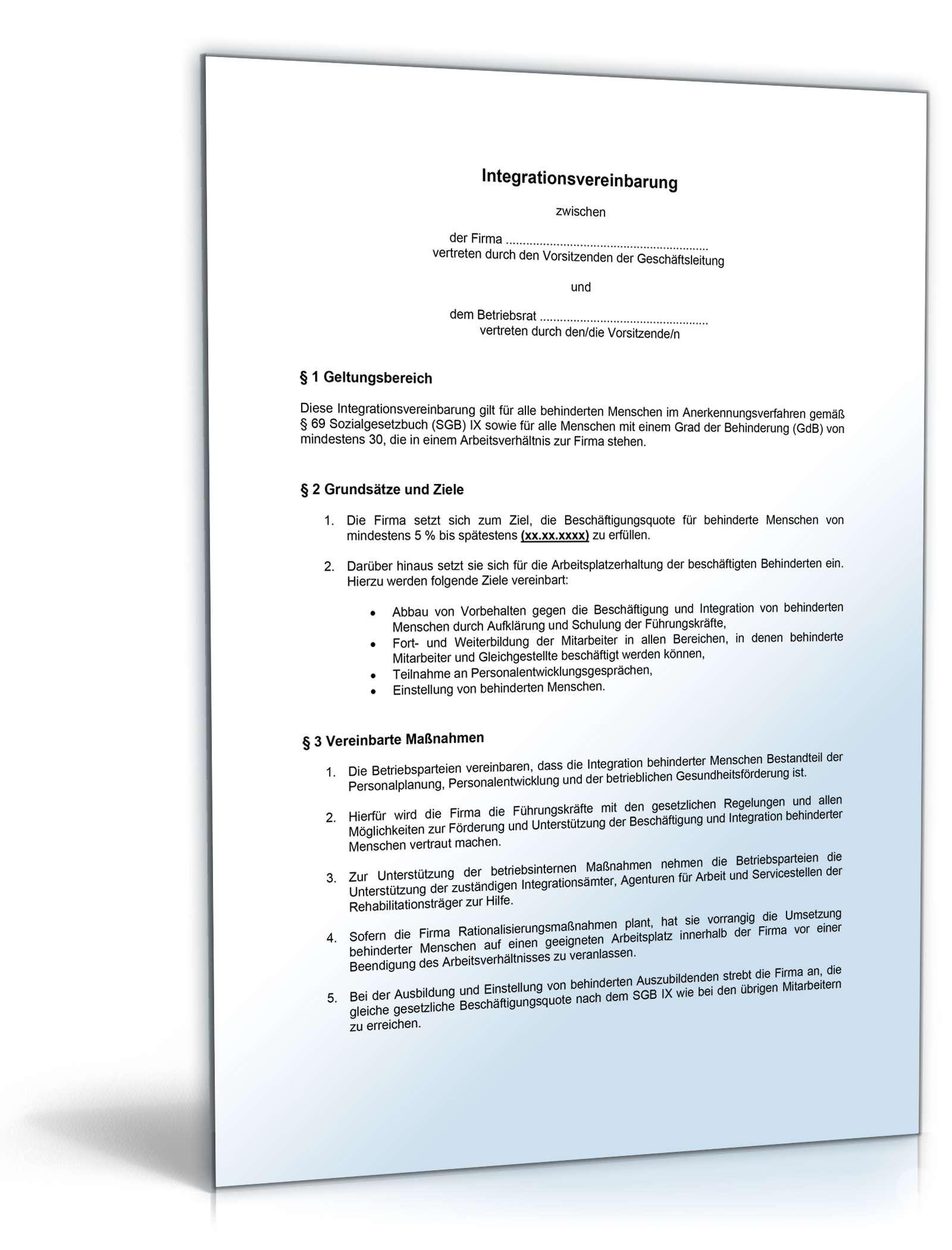 Integrationsvereinbarung Muster Vorlage Zum Download