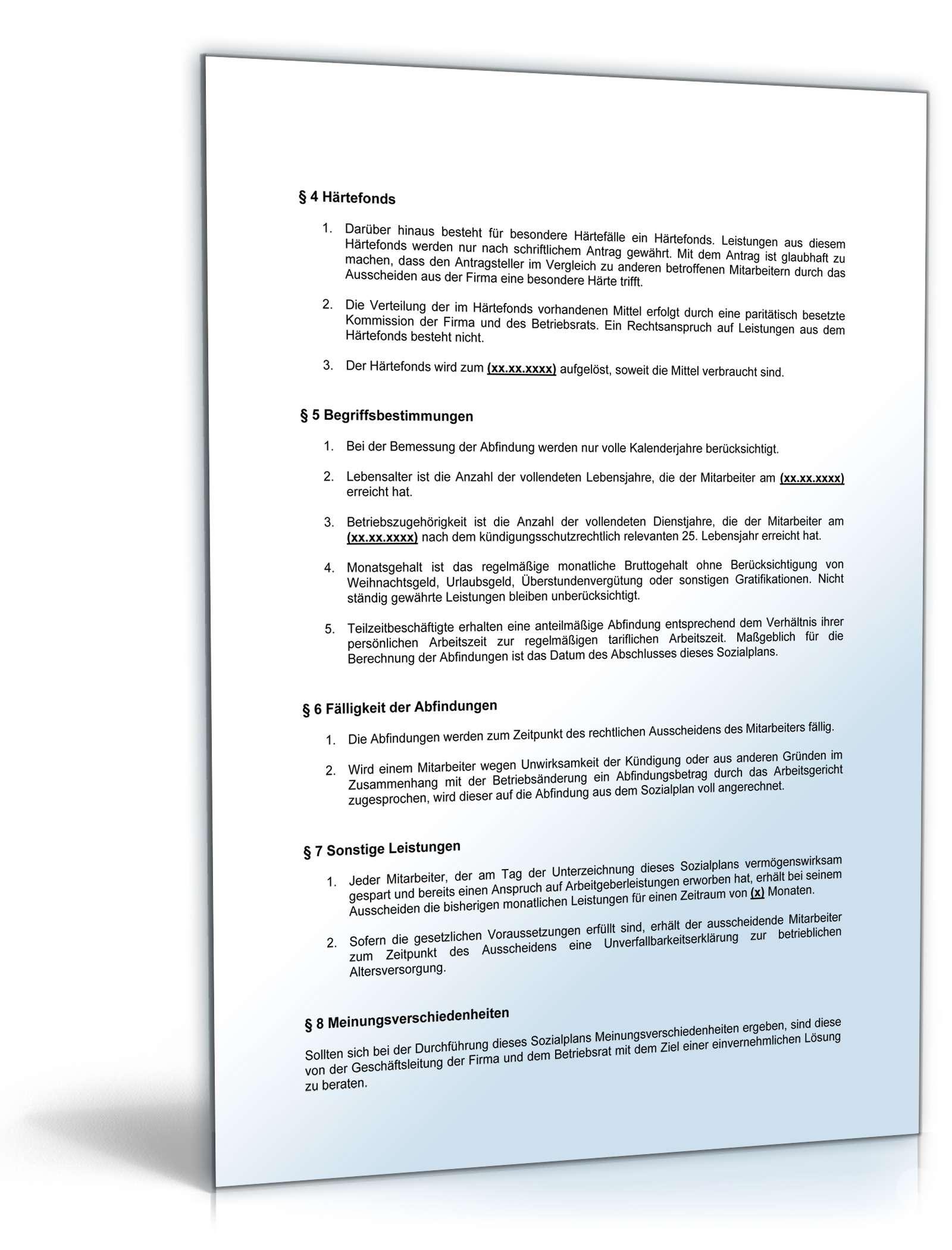 Betriebsvereinbarung Sozialplan Muster Kostenlos Downloaden