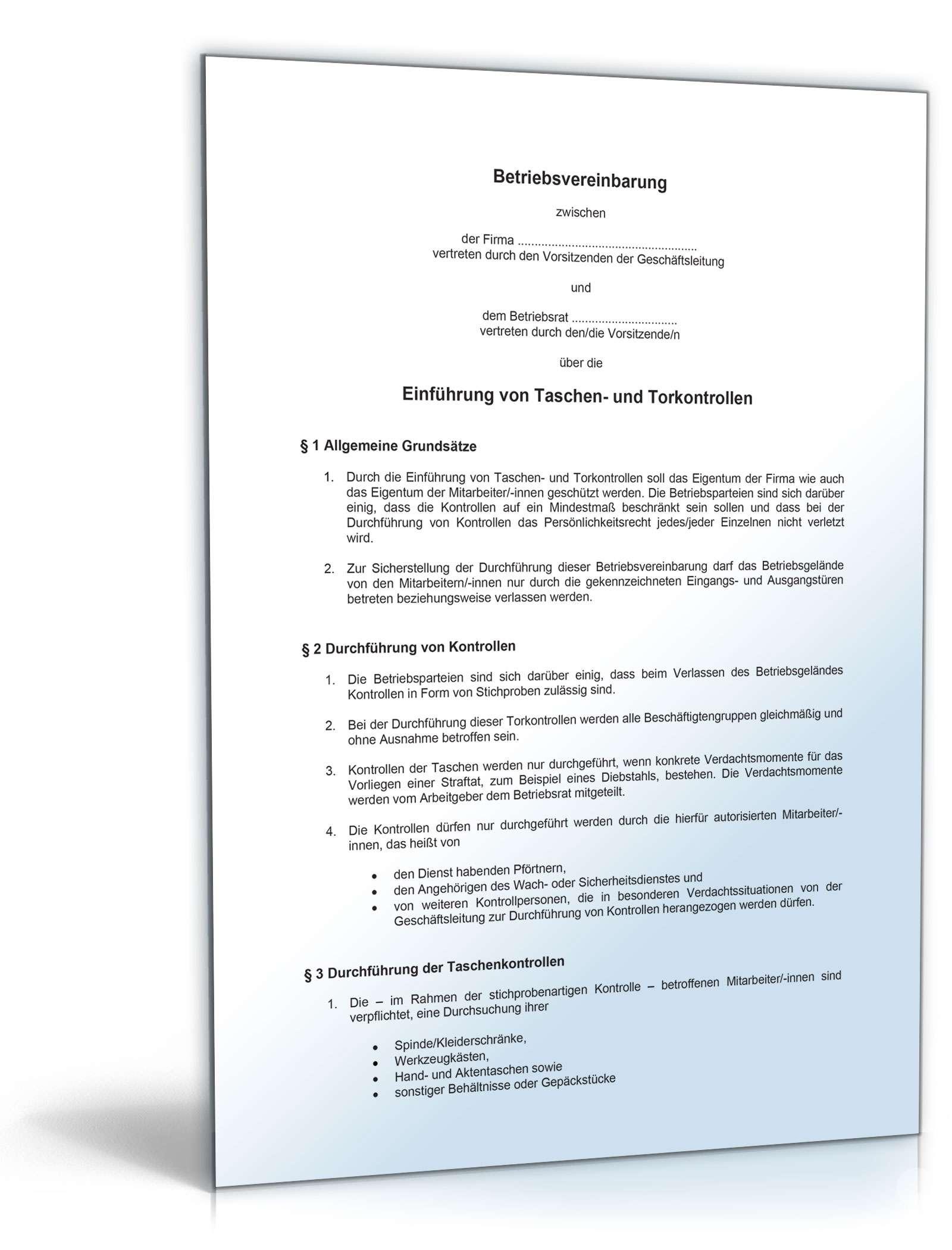 Betriebsvereinbarung Taschen Und Torkontrolle Muster Vorlage Zum