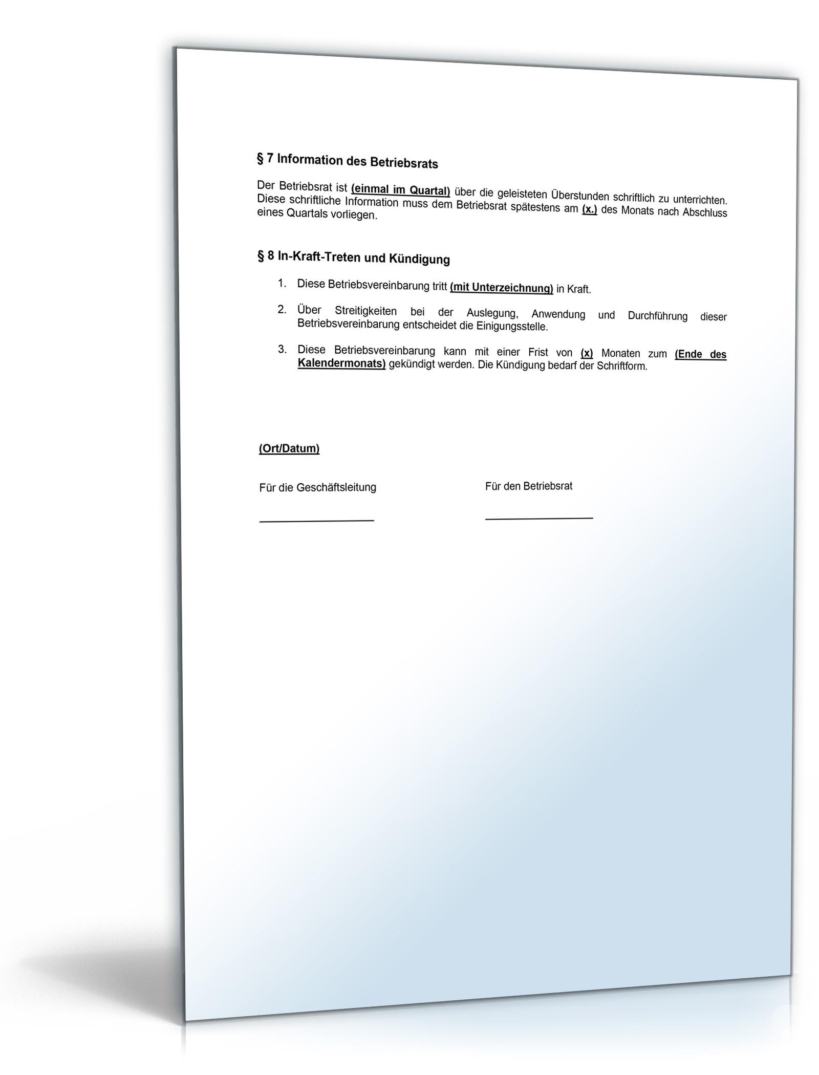 Betriebsvereinbarung Verlängerte Arbeitszeit Muster Vorlage Zum