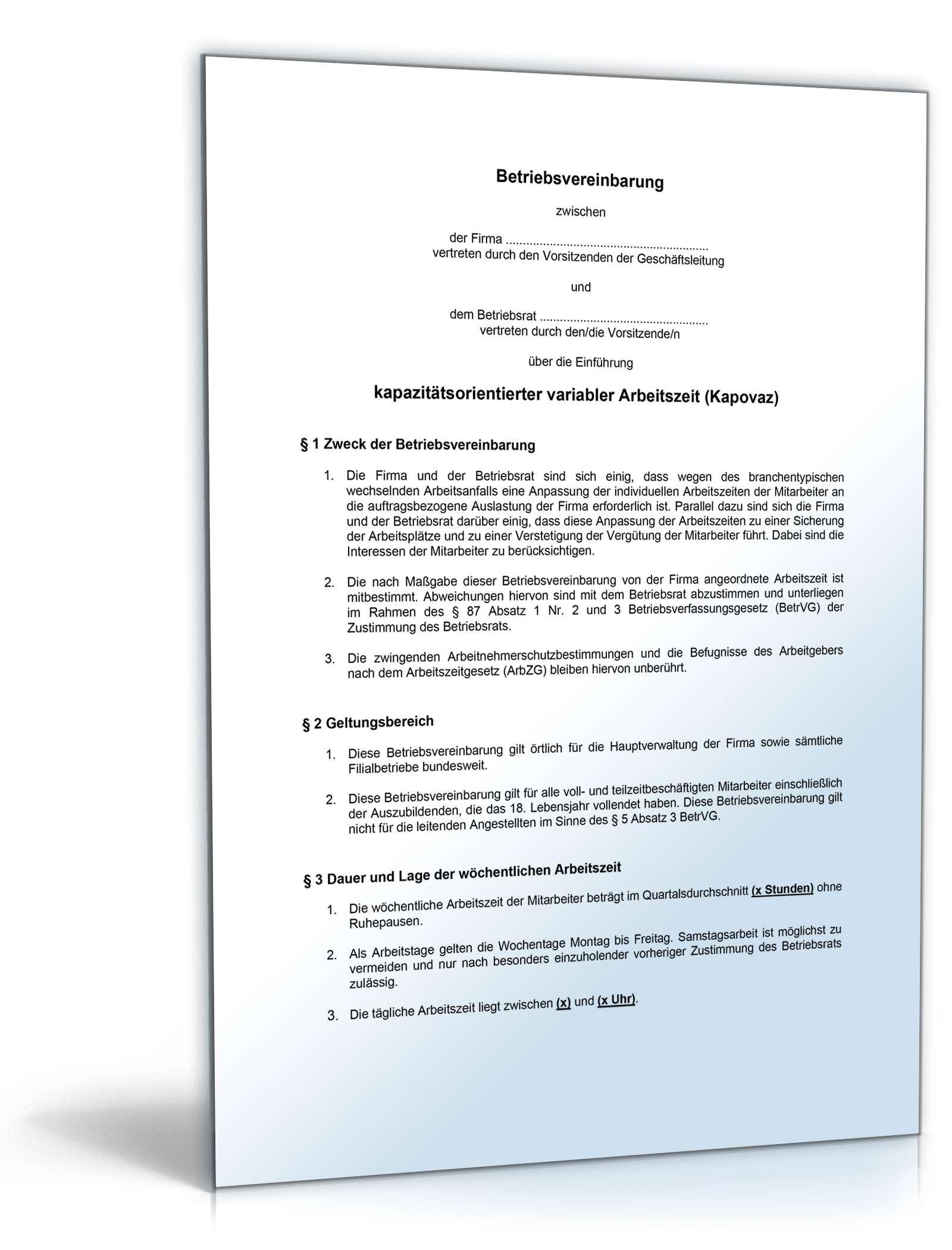 Betriebsvereinbarung Arbeitszeit Muster Vorlage Zum Download