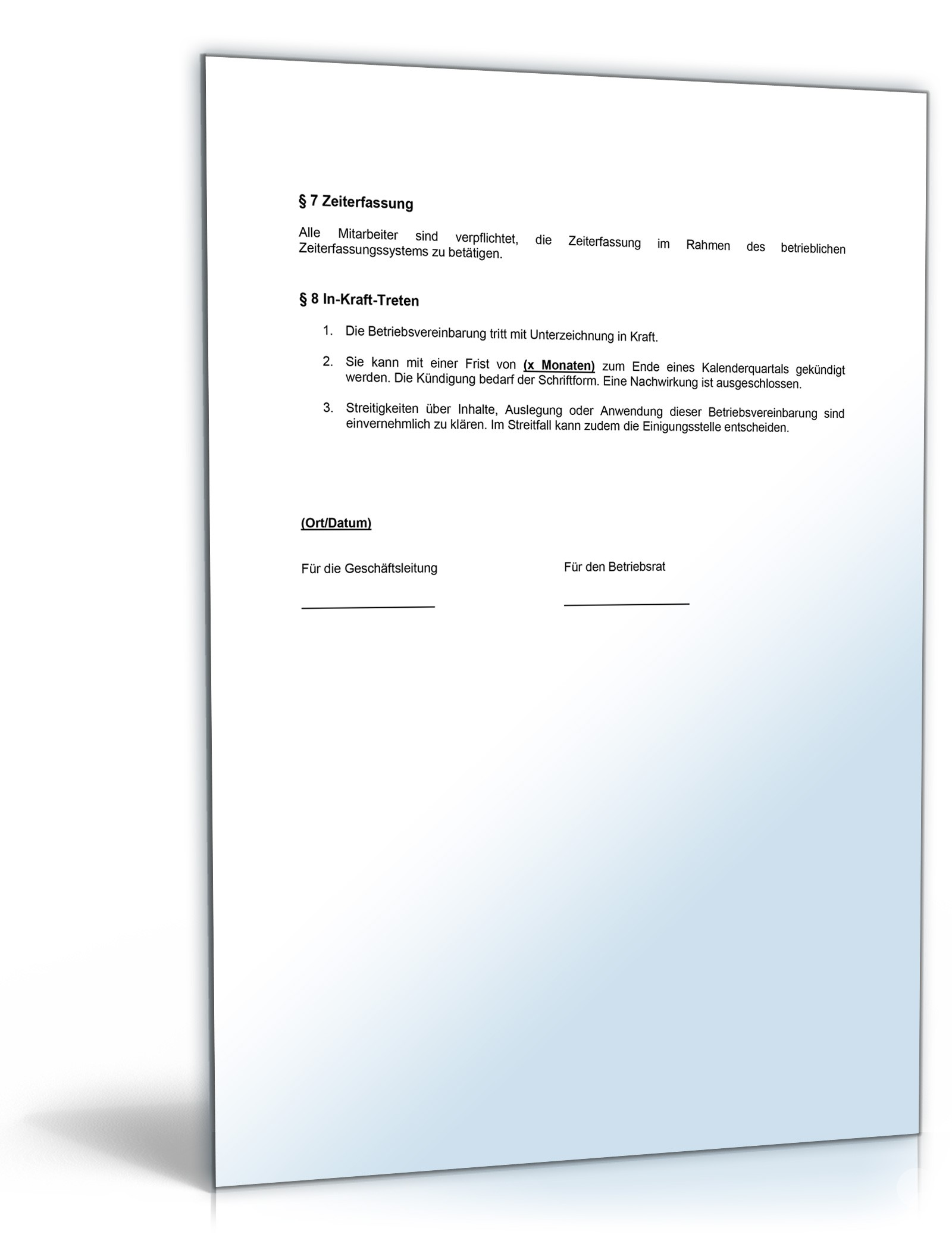 Tolle Betriebsvereinbarung Vorlage Galerie - Beispiel Wiederaufnahme ...
