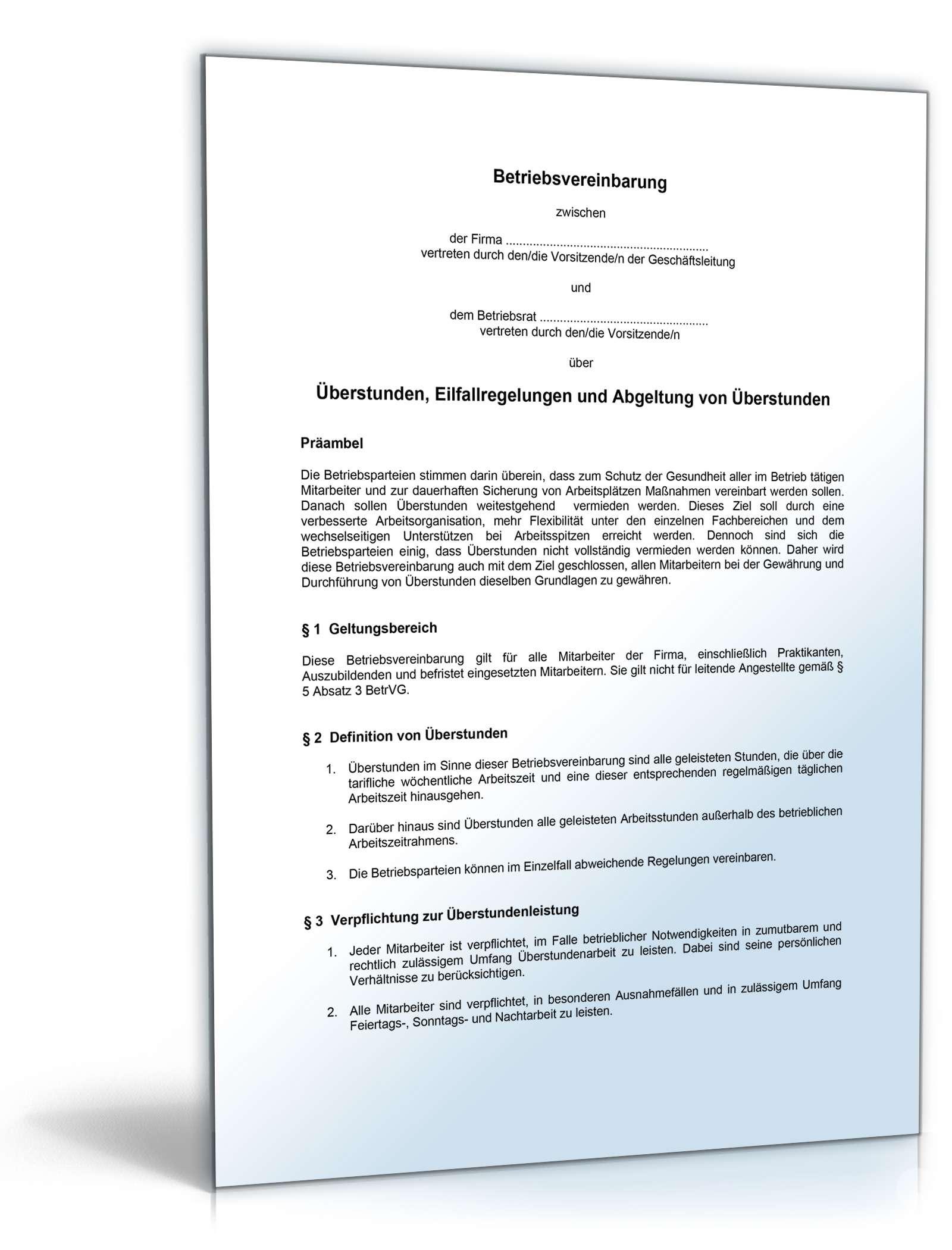 Betriebsvereinbarung Abgeltung überstunden Muster Vorlage Zum Dowload