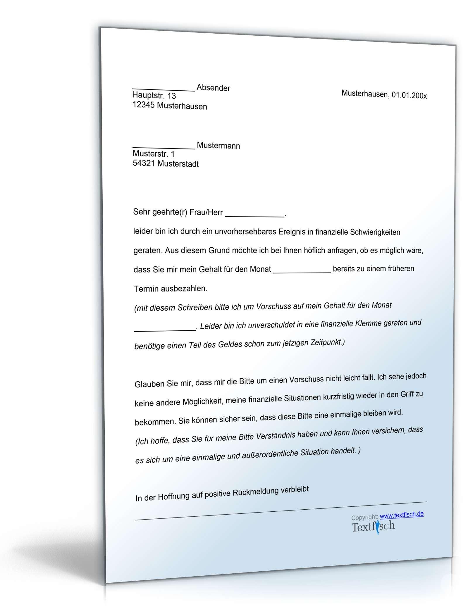 Musterbriefe Arbeitgeber : Bitte um vorschuss vorlage zum download