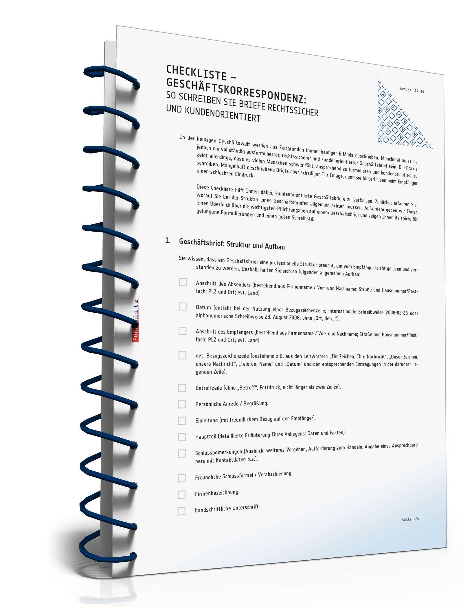Checkliste Geschäftskorrespondenz Kurzratgeber Zum Download