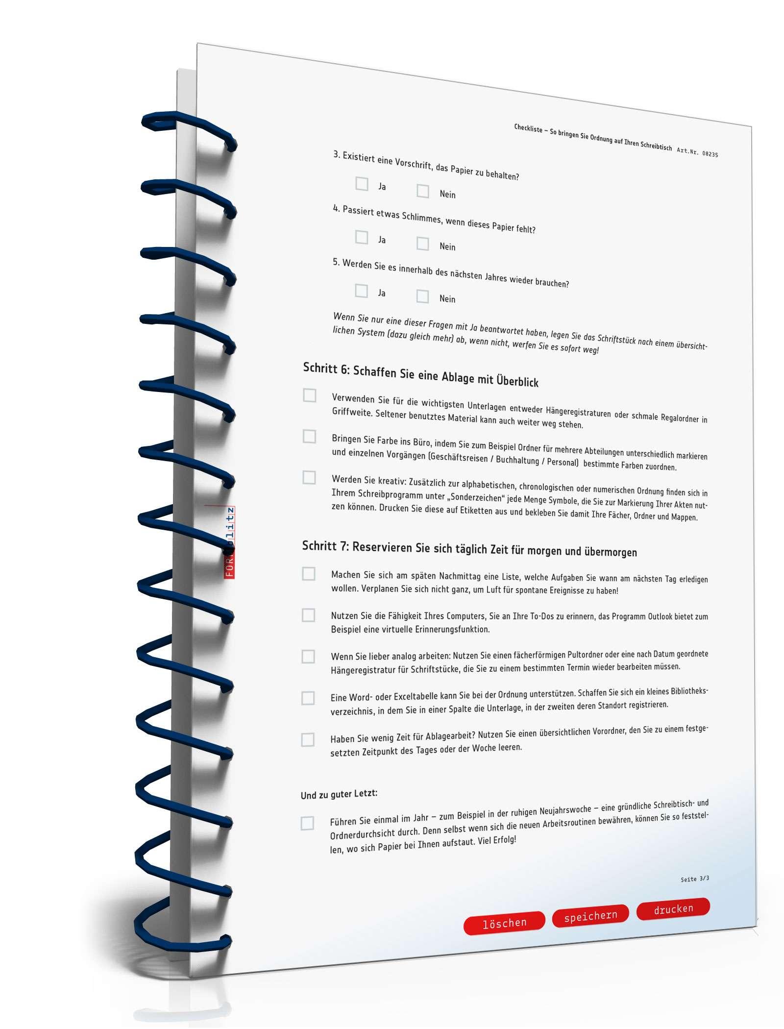 Checkliste Schreibtischordnung Muster Zum Download