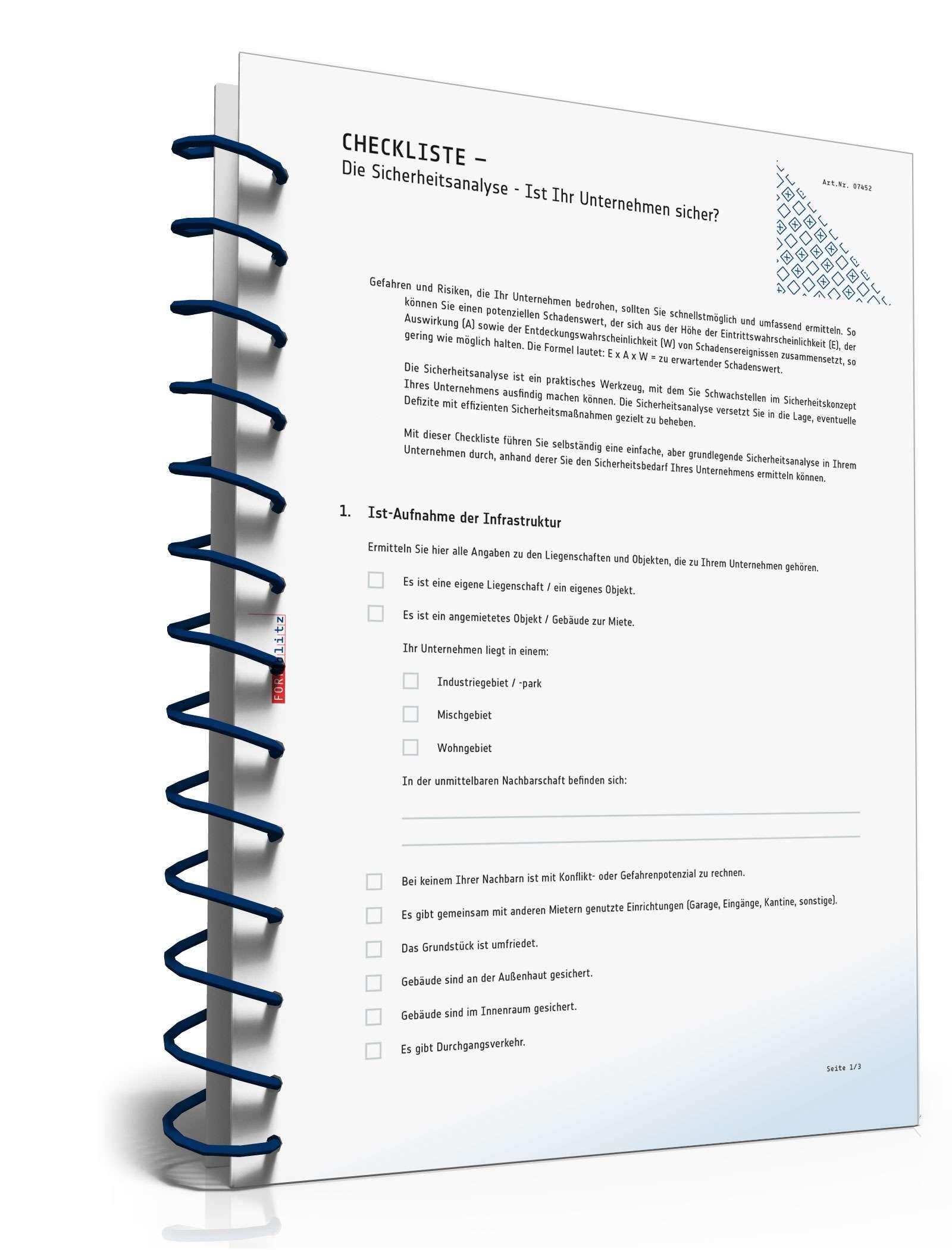 Checkliste Sicherheitsanalyse Unternehmen   Muster zum Download