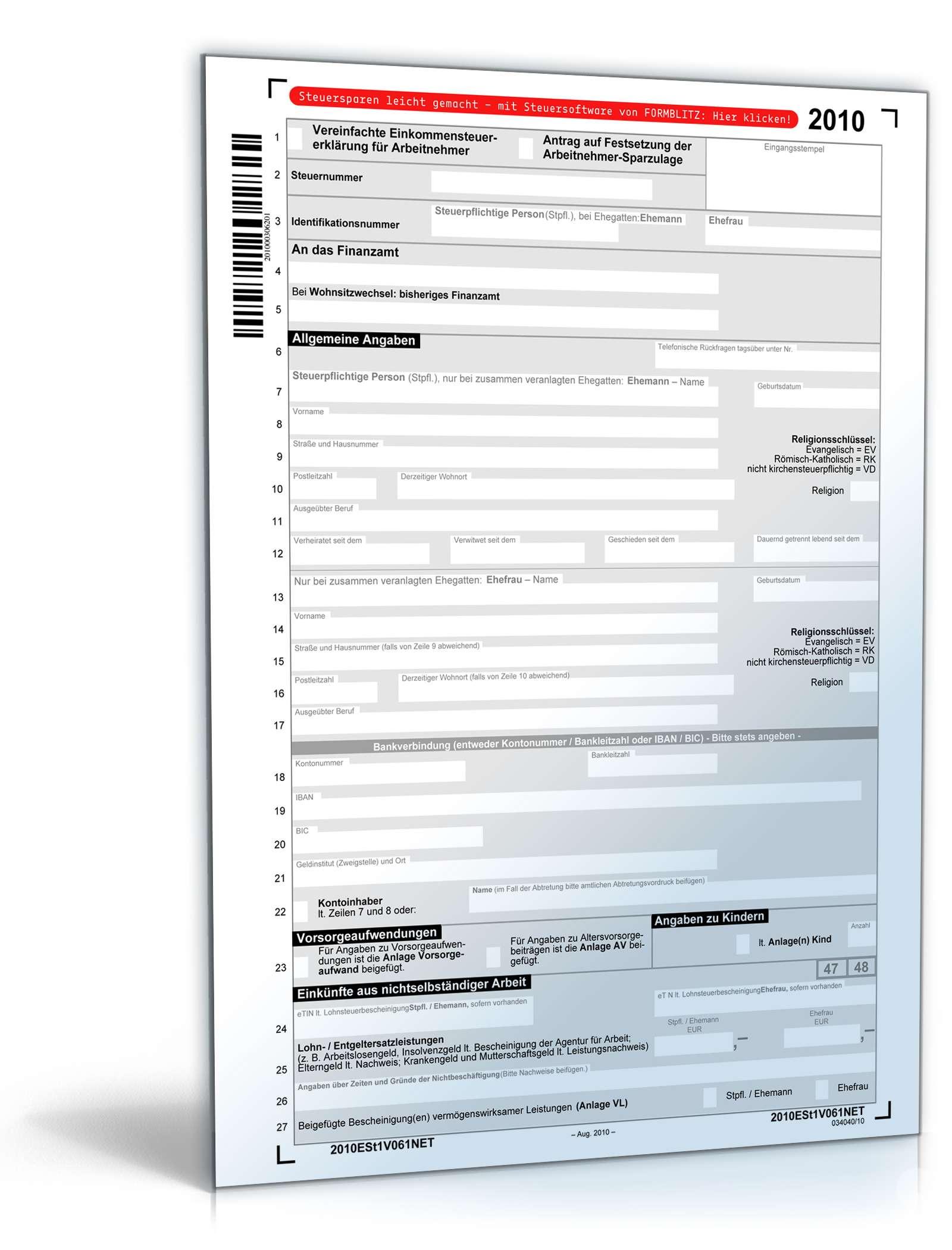 steuerformulare 2010