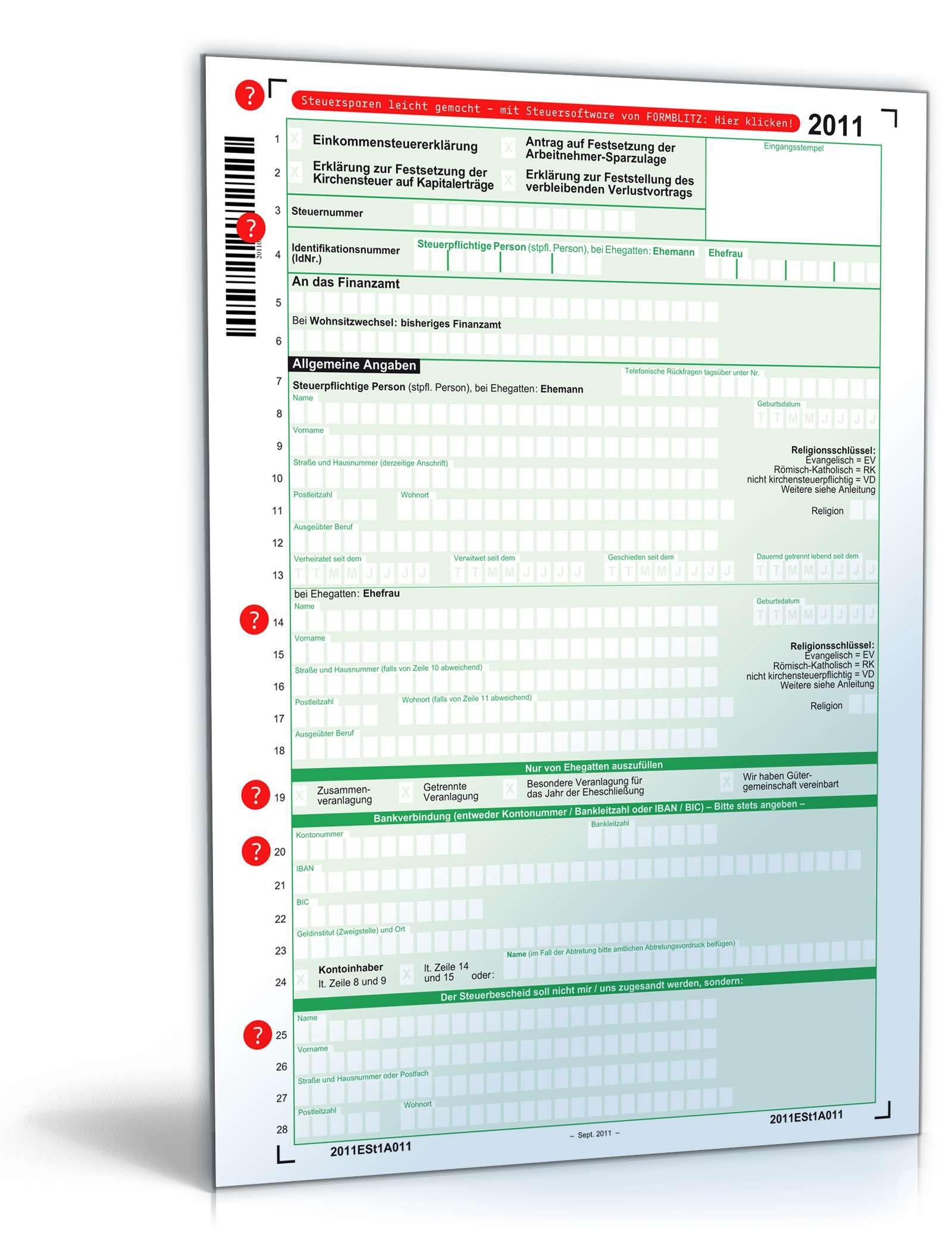 Einkommensteuererklärung 2011 Dokument zum Download