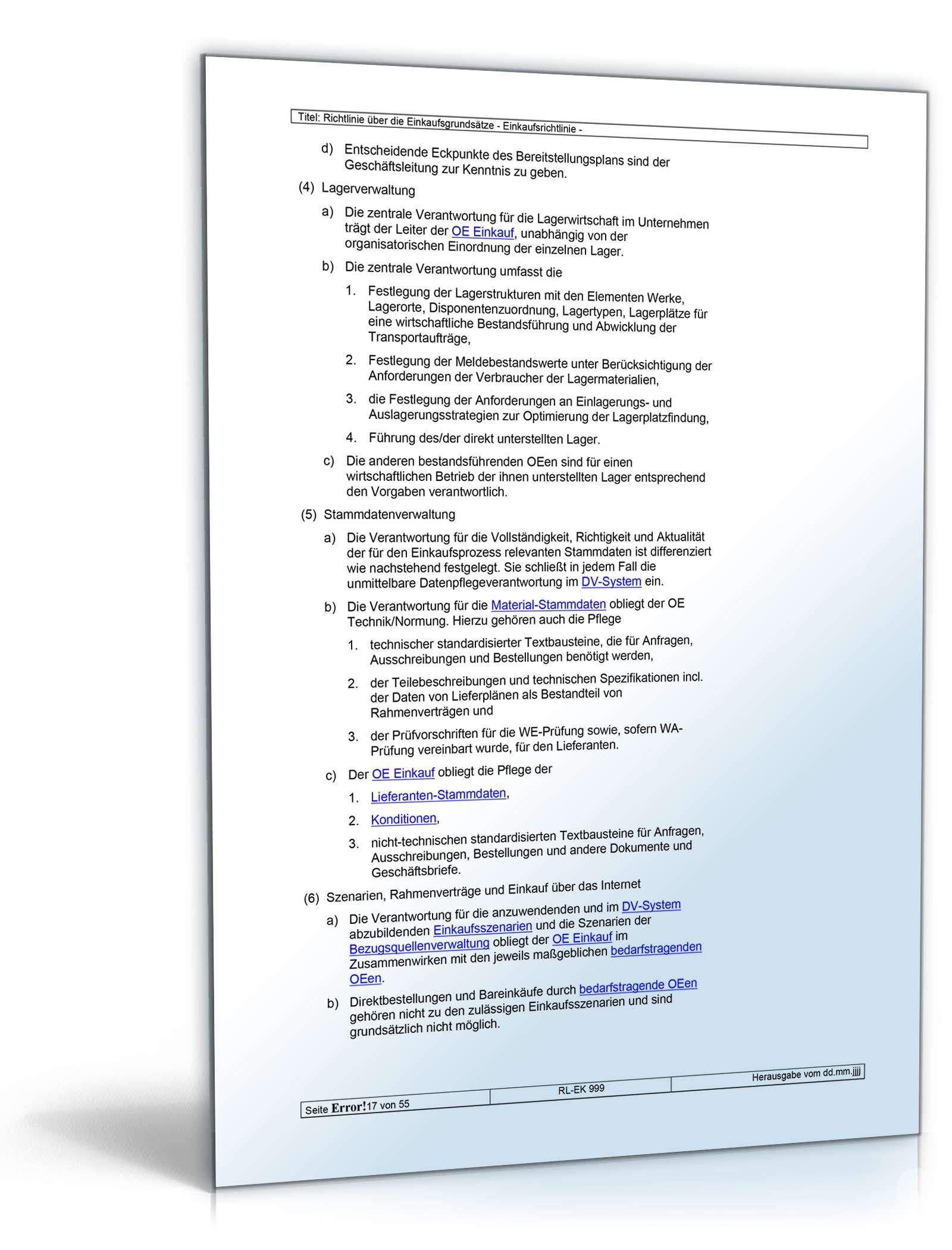 Richtlinien über Die Einkaufsgrundsätze Vorlage Zum Download