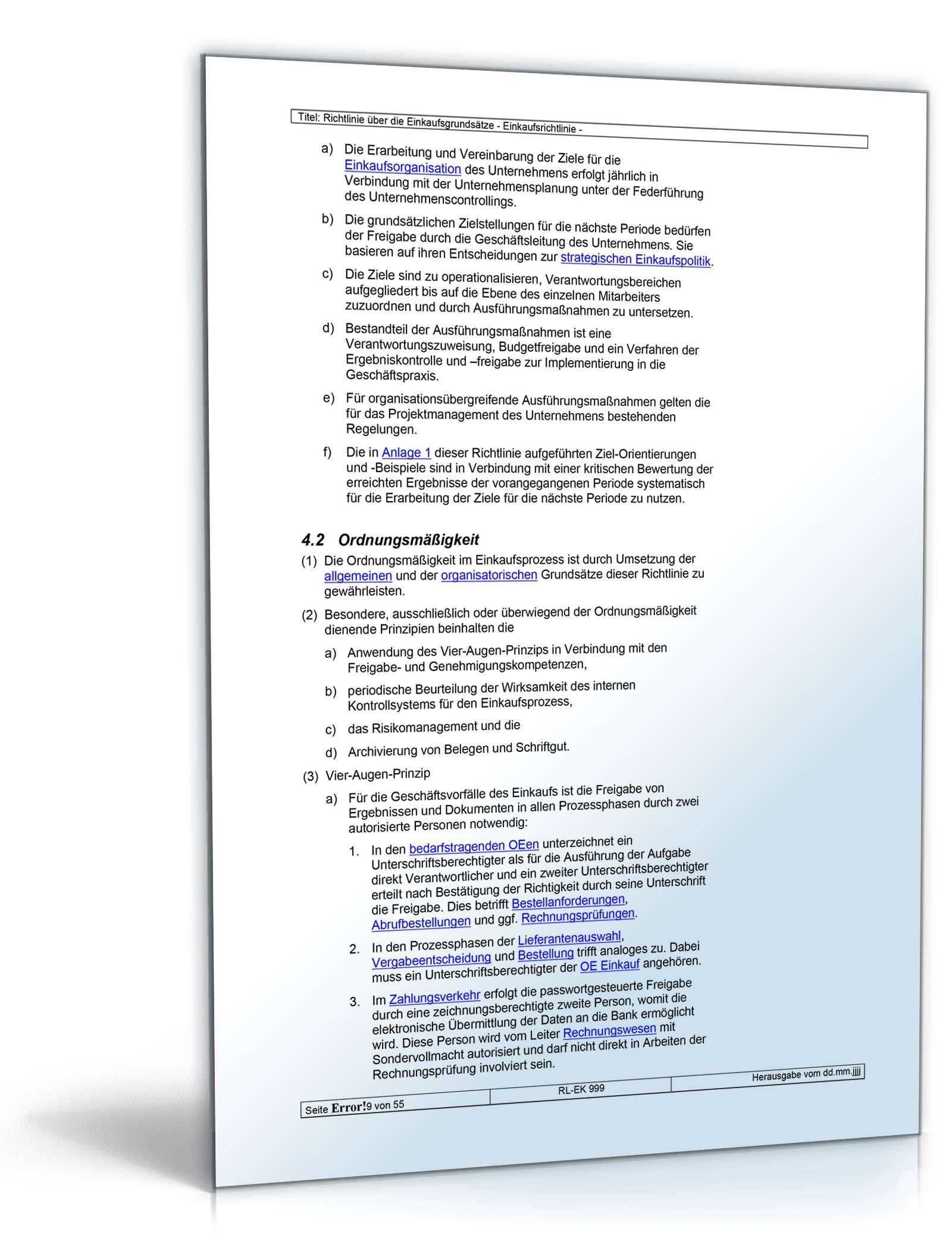 Richtlinien über die Einkaufsgrundsätze - Vorlage zum Download